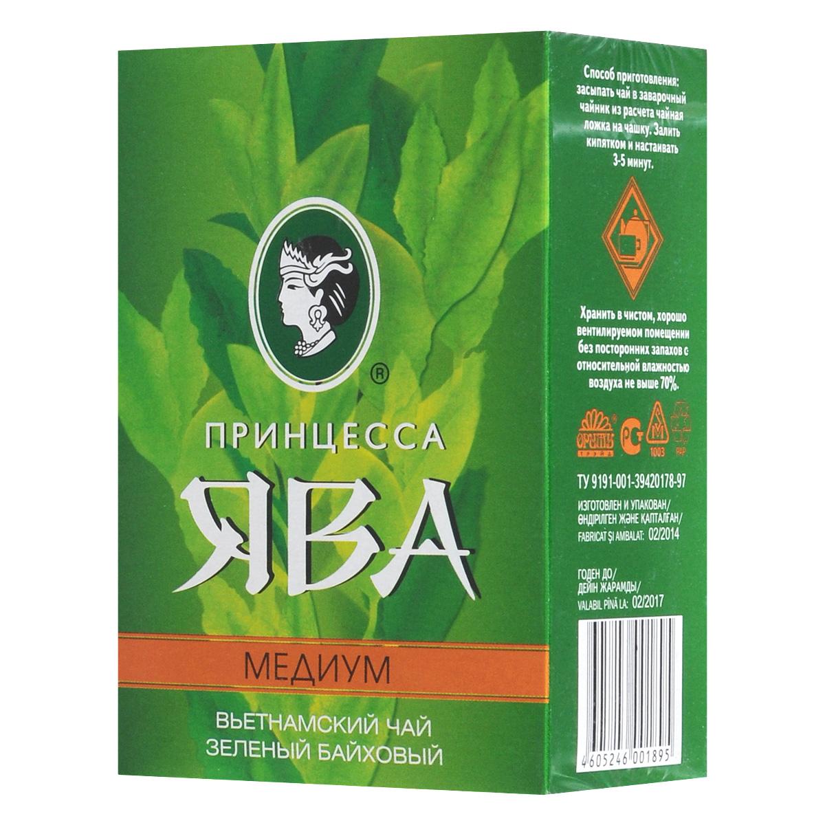 Принцесса Ява Медиум зеленый чай листовой, 100 г0919-09Северо-вьетнамский крупнолистовой зеленый чай Принцесса Ява Медиум высушивается вбамбуковых корзинах над огнем. Эта особенность обработки придает чайному настою своеобразный вкус и аромат.
