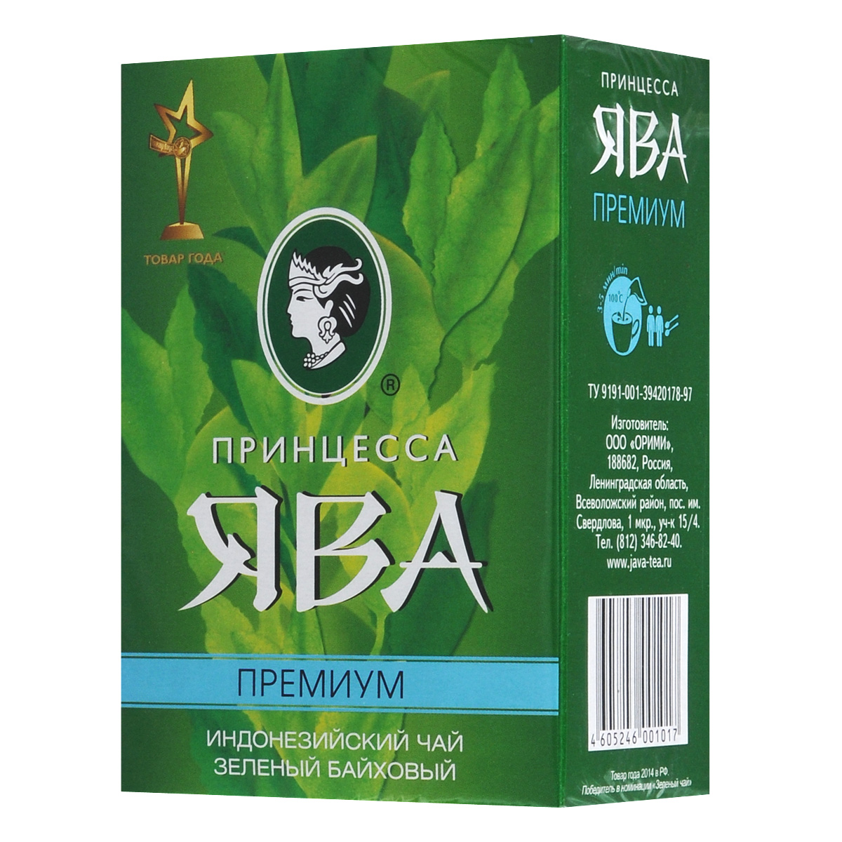 Принцесса Ява Премиум зеленый чай листовой, 100 г0101-64Индонезийский крупнолистовой зеленый чай Принцесса Ява Премиум популярен во всем мире благодаря особой экологической чистоте. По сравнению с традиционным китайским зеленым чаем, индонезийский считается более терпким, крепким.