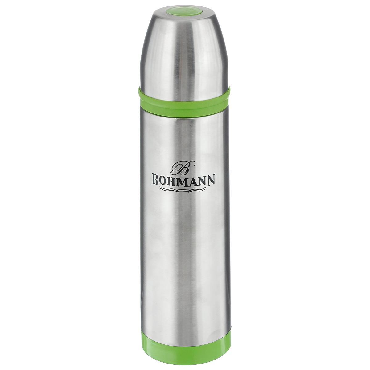 Термос Bohmann с узким горлом, цвет: салатовый, 500 млVT-1520(SR)Термос с узким горлом Bohmann выполнен из нержавеющей стали с матовой полировкой. Двойные стенки сохраняют температуру до 24 часов. Внутренняя колба выполнена из высококачественной нержавеющей стали марки 18/10. Термос имеет вакуумную прослойку между внутренней колбой и внешней стенкой. Специальная термоизоляционная прокладка удерживает тепло. Термос снабжен плотно прилегающей закручивающейся пластиковой пробкой с нажимным клапаном и укомплектован теплоизолированной чашкой из нержавеющей стали. Для того чтобы налить содержимое термоса нет необходимости откручивать пробку. Достаточно надавить на клапан, расположенный в центре. Легкий и удобный, термос Bohmann станет незаменимым спутником в ваших поездках.Диаметр основания термоса: 7 см.Высота термоса (с учетом крышки): 26 см.