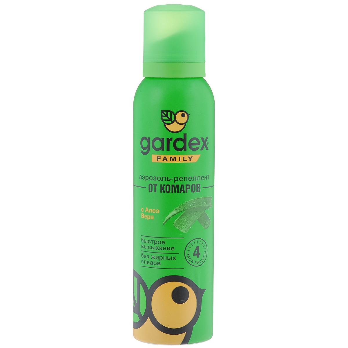 Аэрозоль-репеллент от комаров Gardex Family, с алое вера, 150мл106-026Аэрозоль-репеллент Gardex Family является надежным защитником от летающих кровососущих насекомых - комаров, мокрецов, москитов, мошек, слепней и блох. Благодаря уникальному водному раствору, не оставляет жирных следов на коже и одежде, обладает приятным запахом. Экстракт алоэ вера смягчает действие репеллента, защищая кожу и ухаживая за ней. Можно наносить на открытые участки кожи, на одежду и снаряжение только из натуральных тканей. Состав: N,N-диэтилтолуамид 18%, экстракт алоэ вера, отдушка, спирт этиловый 25,4%, пропеллент (пропан, бутан, изобутан).Товар сертифицирован.