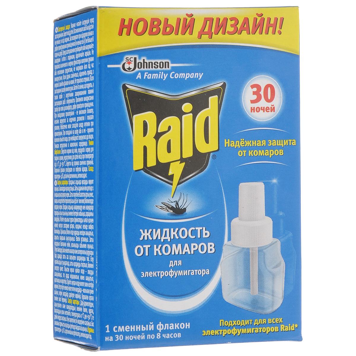 Жидкость для фумигатора от комаров Raid, на 30 ночей, 21,9 мл106-026Жидкость от комаров Raid - это защита от комаров для всех членов семьи. Обеспечивает 30 ночей (по 8 часов) непрерывной эффективной защиты.Сменный флакон действует в помещении до 50 м3. Не обладающая никаким запахом, абсолютно безопасная для здоровья жидкость от комаров, уничтожает насекомых в комнате, даже при открытых окнах в течение всей ночи.Состав: праллетрин 1,6%, органические растворители, антиоксидант.