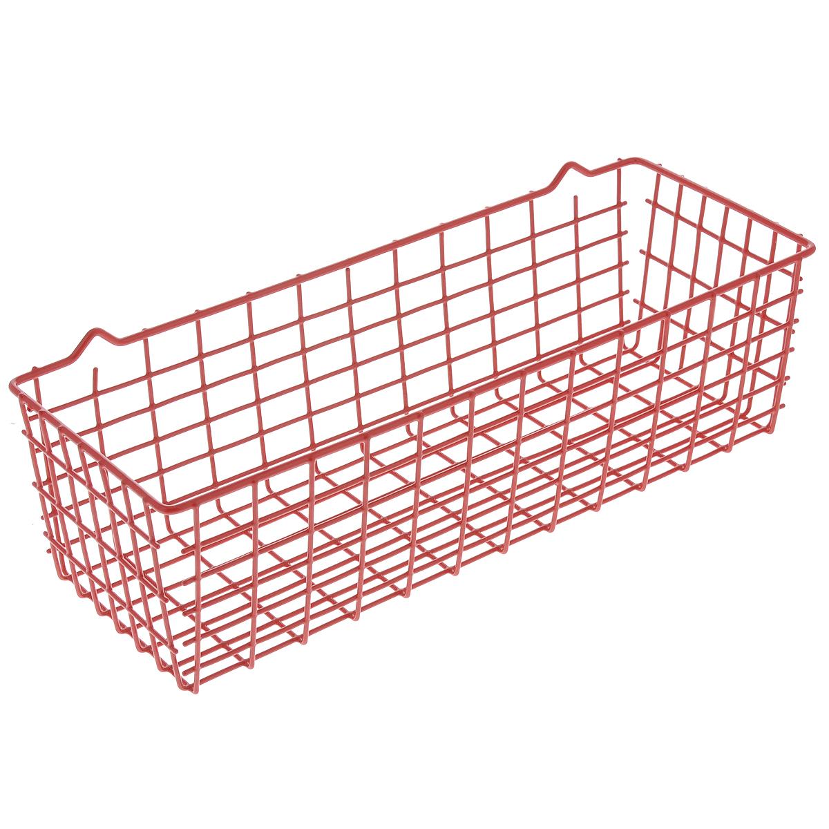 Полка универсальная Metaltex Pandino, цвет: красный, 33 х 12 х 9 см74-0120Универсальная полка Metaltex Pandino изготовлена из стали, покрытой полимерным, влагостойким материалом. Выполнена в виде небольшой корзинки. Такая полка сэкономит место на вашей кухне или в ванной. Современный дизайн делает ее не только практичным, но и стильным домашним аксессуаром. Полка пригодится для хранения различных кухонных или других принадлежностей, которые всегда будут под рукой.