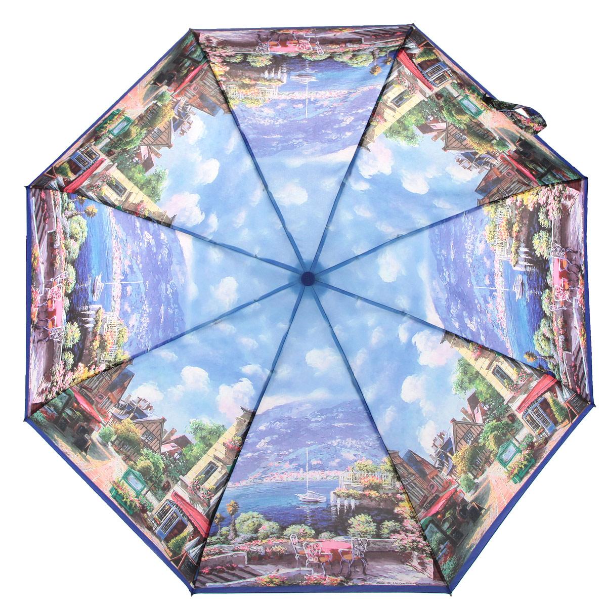 Зонт женский Zest, цвет: синий, мультицвет. 247555-03П250071001-22Стильный женский зонт ZEST с облегченным каркасом выполнен из алюминия с антикоррозийным покрытием, спицы из фибергласса, устойчивые к выгибанию. Купол зонта изготовленполиэстера с водоотталкивающей пропиткой. Закрытый купол застегивается на липучку хлястиком. Практичная рукоятка закругленной формы разработана с учетом требований эргономики и выполнена из пластика.Зонт оснащен автоматическим механизмом и чехлом.Такой зонт не только надежно защитит от дождя, но и станет стильным аксессуаром.