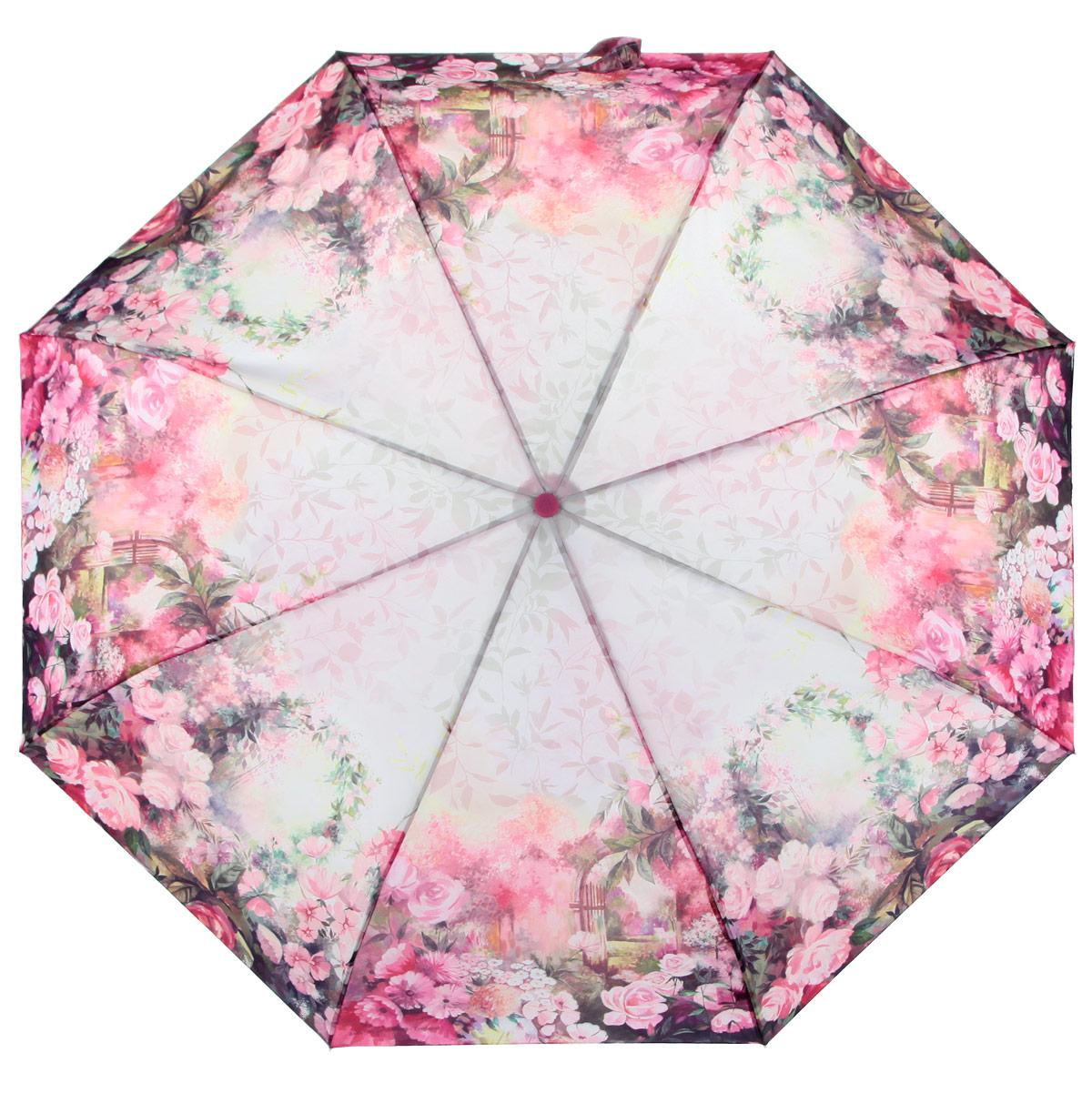 Зонт женский Zest, цвет: розовый, мультицвет. 239555-368B035000M/18075/3900NСтильный женский зонт ZEST каркас зонта выполнен из прочной стали с антикоррозийным покрытием, спицы из фибергласса, устойчивые к выгибанию. Купол зонта изготовлен прочного полиэстера. Закрытый купол застегивается на липучку хлястиком. Практичная рукоятка закругленной формы разработана с учетом требований эргономики и выполнена из пластика.Зонт оснащен автоматическим механизмом и чехлом.Такой зонт не только надежно защитит от дождя, но и станет стильным аксессуаром.