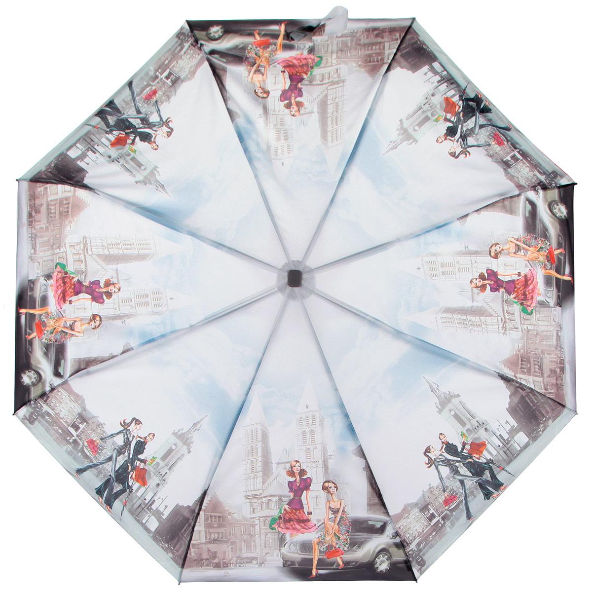 Зонт женский Zest, цвет: голубой, серый, мультицвет. 23815-910545100636-1/18466/6800NКомпактный женский зонт ZEST выполнен из металла, пластика и оформлен ярким принтом.Каркас зонта выполнен из восьми спиц, стержень из стали. На концах спиц предусмотрены металлические элементы, которые защитят владельца от травм. Купол зонта изготовлен прочного полиэстера. Закрытый купол застегивается на липучку хлястиком. Практичная рукоятка закругленной формы разработана с учетом требований эргономики и выполнена из пластика.Зонт полностью автоматический.Такой зонт не только надежно защитит от дождя, но и станет стильным аксессуаром.