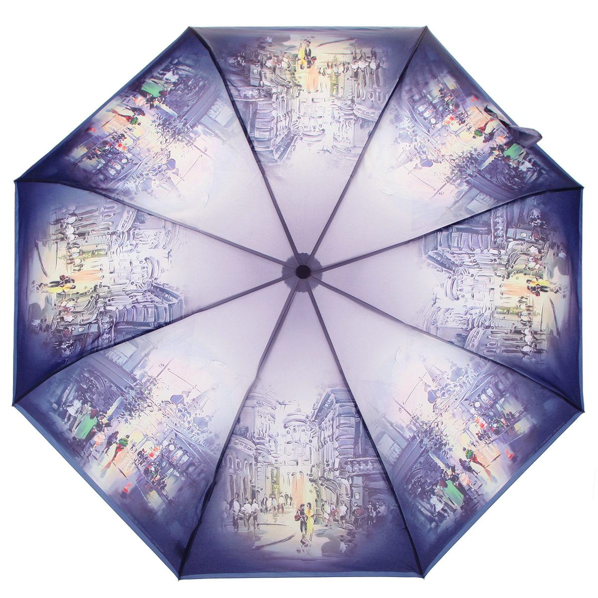 Зонт женский Zest, цвет: фиолетовый, мультицвет. 239555-2545100738/18076/4D00NСтильный женский зонт ZEST выполнен из металла, пластика и оформлен ярким принтом.Каркас зонта выполнен из восьми спиц, стержень из стали. На концах спиц предусмотрены металлические элементы, которые защитят владельца от травм. Купол зонта изготовлен прочного полиэстера. Закрытый купол застегивается на липучку хлястиком. Практичная рукоятка закругленной формы разработана с учетом требований эргономики и выполнена из пластика.Зонт оснащен полуавтоматическим механизмом и чехлом.Такой зонт не только надежно защитит от дождя, но и станет стильным аксессуаром.