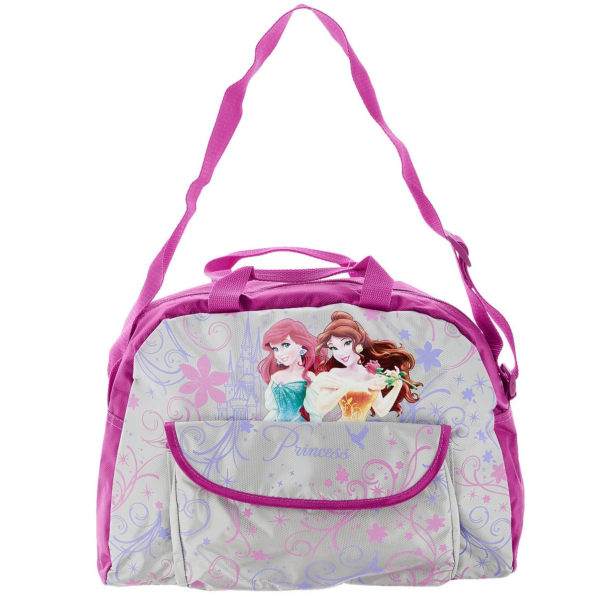 Сумка детская Disney Princess, цвет: розовый, серый. PRAS-UT-437772523WDСумка детская Disney Princess, выполненная из плотного, водоотталкивающего полиэстера, оформлена изображением прекрасных принцесс.Сумочка имеет одно большое вместительное отделение, закрывающееся на застежку-молнию, куда можно положить все необходимые принадлежности и аксессуары. Внутри отделения находятся два накладных кармана.На лицевой стороне сумки имеется накладной карман на кнопке. Сумка оснащена регулирующимся по длине широким текстильным ремнем для переноски на плече и двумя ручками.Сумка Disney Princess - идеальный вариант аксессуара на время прогулки или путешествия.