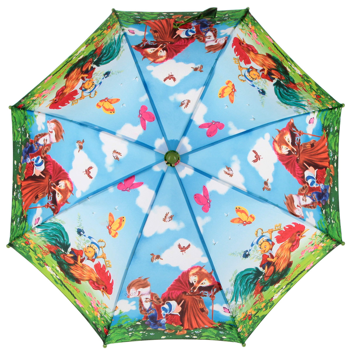Зонт-трость детский Zest, цвет: голубой, зеленый, мультицвет. 21665-01Серьги с подвескамиКрасочный детский зонт-трость ZEST выполнен из металла и пластика, оформлен принтом с изображениями героев известнейших сказок.Каркас зонта выполнен из восьми спиц, стержень из стали. На концах спиц предусмотрены пластиковые элементы, которые защитят малыша от травм. Купол зонта изготовлен прочного полиэстера. Закрытый купол застегивается на липучку хлястиком. Практичная глянцевая рукоятка закругленной формы разработана с учетом требований эргономики и выполнена из пластика.Зонт имеет полуавтоматический механизм сложения: купол открывается нажатием кнопки на рукоятке, а закрывается вручную до характерного щелчка.Такой зонт не только надежно защитит малыша от дождя, но и станет стильным аксессуаром.