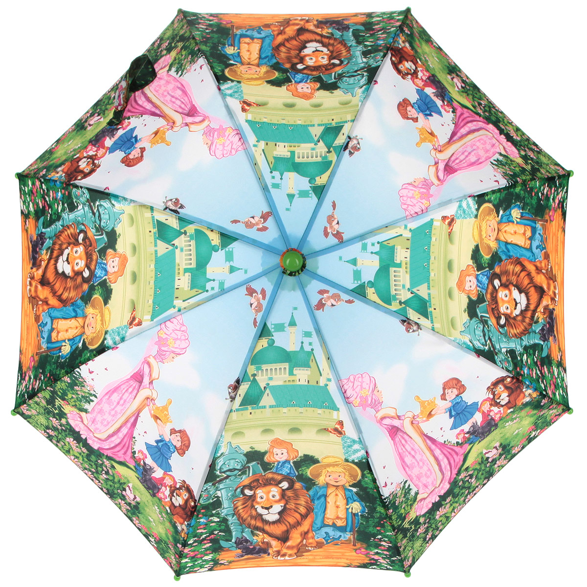Зонт-трость детский Zest, цвет: голубой, зеленый, мультицвет. 21665-0345102176/33205/7900XКрасочный детский зонт-трость ZEST выполнен из металла и пластика, оформлен принтом с изображениями героев известнейших сказок.Каркас зонта выполнен из восьми спиц, стержень из стали. На концах спиц предусмотрены пластиковые элементы, которые защитят малыша от травм. Купол зонта изготовлен прочного полиэстера. Закрытый купол застегивается на липучку хлястиком. Практичная глянцевая рукоятка закругленной формы разработана с учетом требований эргономики и выполнена из пластика.Зонт имеет полуавтоматический механизм сложения: купол открывается нажатием кнопки на рукоятке, а закрывается вручную до характерного щелчка.Такой зонт не только надежно защитит малыша от дождя, но и станет стильным аксессуаром.