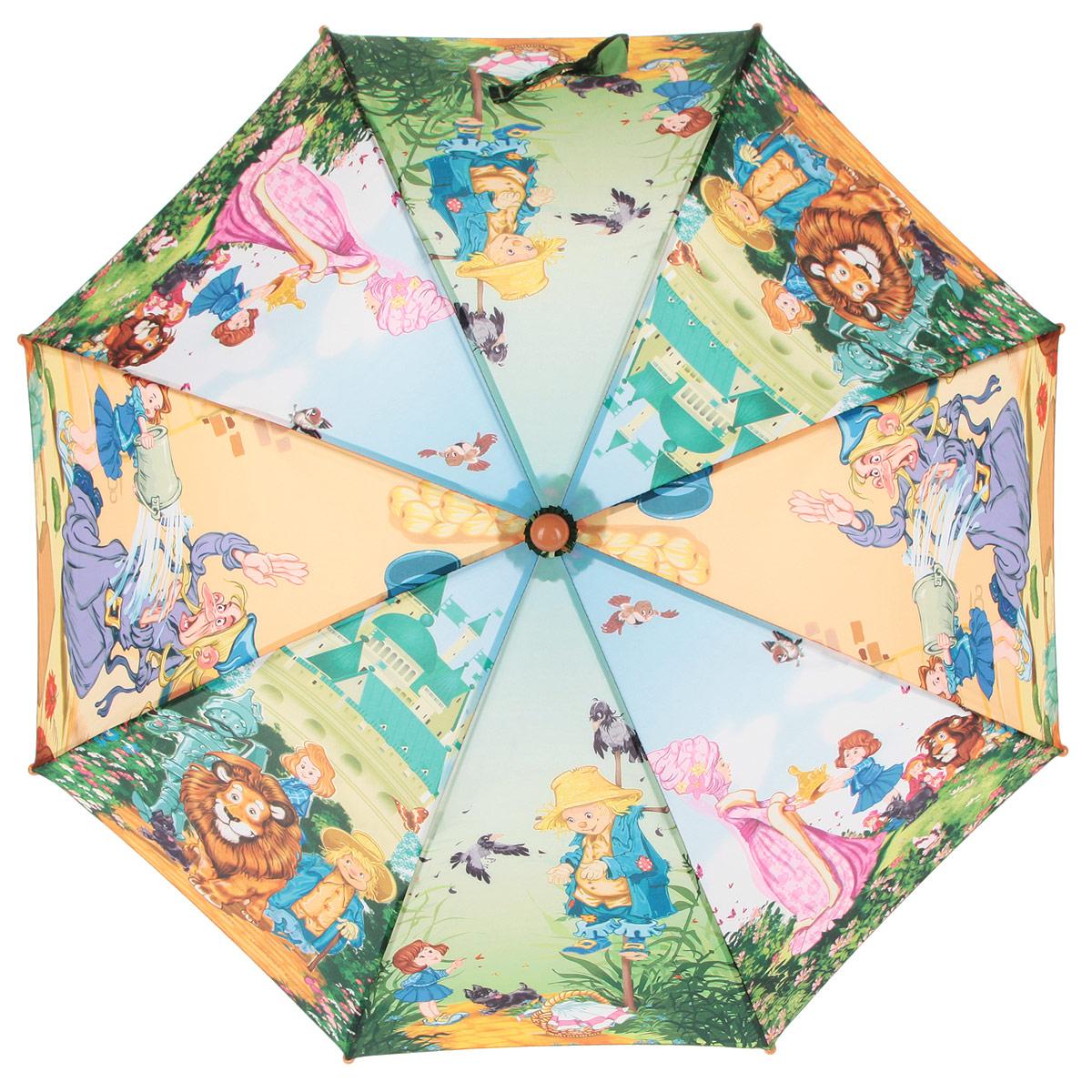 Зонт-трость детский Zest, цвет: зеленый, голубой, оранжевый, мультицвет. 21665-02REM12-CAM-REDBLACKКрасочный детский зонт-трость ZEST выполнен из металла и пластика, оформлен принтом с изображениями героев известнейших сказок.Каркас зонта выполнен из восьми спиц, стержень из стали. На концах спиц предусмотрены пластиковые элементы, которые защитят малыша от травм. Купол зонта изготовлен прочного полиэстера. Закрытый купол застегивается на липучку хлястиком. Практичная глянцевая рукоятка закругленной формы разработана с учетом требований эргономики и выполнена из пластика.Зонт имеет полуавтоматический механизм сложения: купол открывается нажатием кнопки на рукоятке, а закрывается вручную до характерного щелчка.Такой зонт не только надежно защитит малыша от дождя, но и станет стильным аксессуаром.