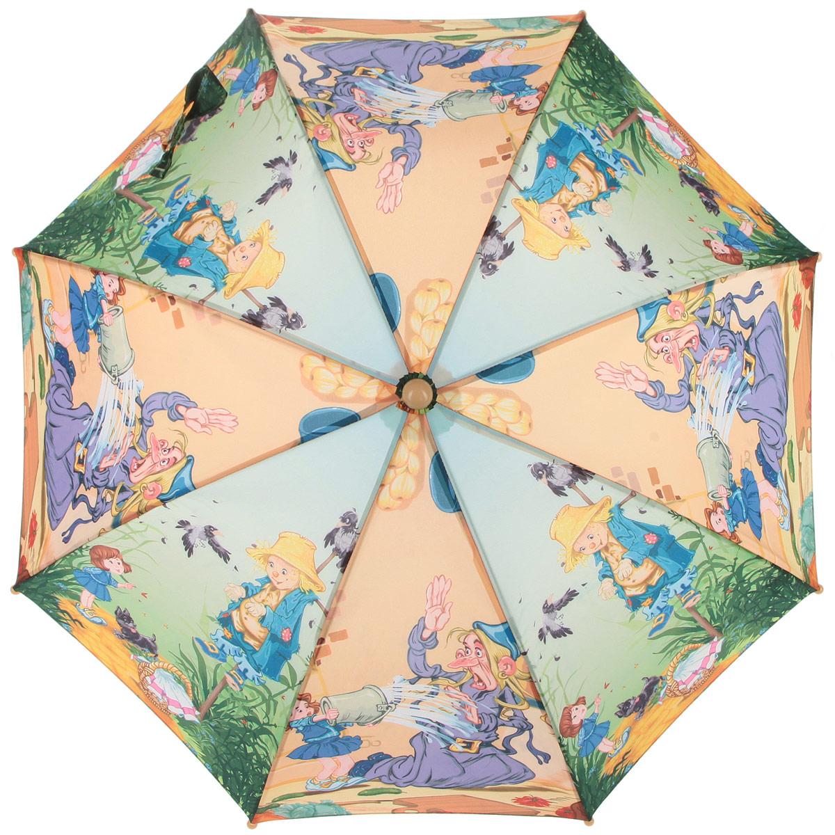 Зонт-трость детский Zest, цвет: зеленый, желтый, фиолетовый. 21665-0445102176/33205/7900XКрасочный детский зонт-трость ZEST выполнен из металла и пластика, оформлен принтом с изображениями героев известнейших сказок.Каркас зонта выполнен из восьми спиц, стержень из стали. На концах спиц предусмотрены пластиковые элементы, которые защитят малыша от травм. Купол зонта изготовлен прочного полиэстера. Закрытый купол застегивается на липучку хлястиком. Практичная глянцевая рукоятка закругленной формы разработана с учетом требований эргономики и выполнена из пластика.Зонт имеет полуавтоматический механизм сложения: купол открывается нажатием кнопки на рукоятке, а закрывается вручную до характерного щелчка.