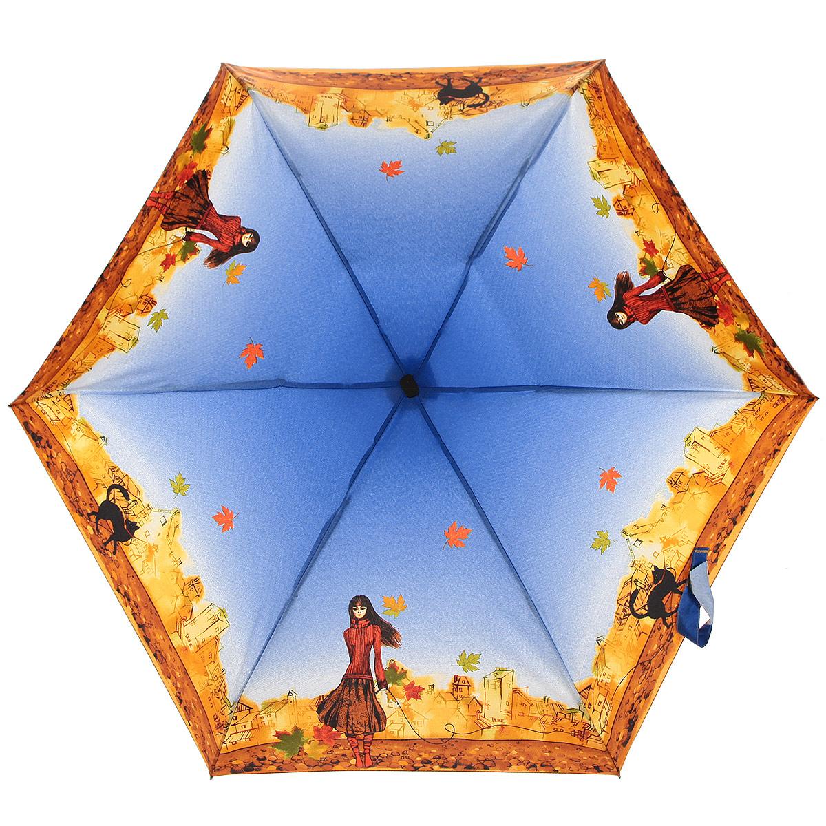 Зонт женский Zest, цвет: оранжевый, красный, голубой. 25516-8027Колье (короткие одноярусные бусы)Компактный женский зонт ZEST выполнен из металла, пластика и оформлен ярким принтом.Каркас зонта выполнен из шести спиц, стержень из стали. На концах спиц предусмотрены металлические элементы, которые защитят владельца от травм. Купол зонта изготовлен прочного полиэстера. Закрытый купол застегивается на липучку хлястиком. Практичная рукоятка закругленной формы разработана с учетом требований эргономики и выполнена из пластика.Зонт складывается и раскладывается механическим способом.Такой зонт не только надежно защитит от дождя, но и станет стильным аксессуаром.