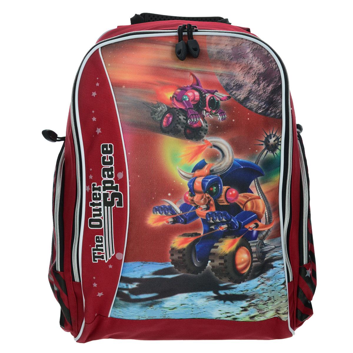 Рюкзак школьный Tiger The Outer Space,цвет: красный72523WDСтильный школьный рюкзак Tiger The Outer Space подойдет всем, кто хочет разнообразить свои школьные будни. Ранец, выполненный из антибактериального, водоотталкивающего и не выгорающего на солнце материала, оформлен изображением забавных машинок. Он имеет одно отделение, которое закрывается на застежку-молнию, три накладных кармана и разделитель. Благодаря анатомической рельефной спинке, повторяющей контур спины и двум эргономичным плечевым ремням, длина которых регулируется, у ребенка не возникнут проблемы с позвоночником. Многофункциональный школьный рюкзак Tiger The Outer Space, станет незаменимым спутником вашего ребенка в походах за знаниями.
