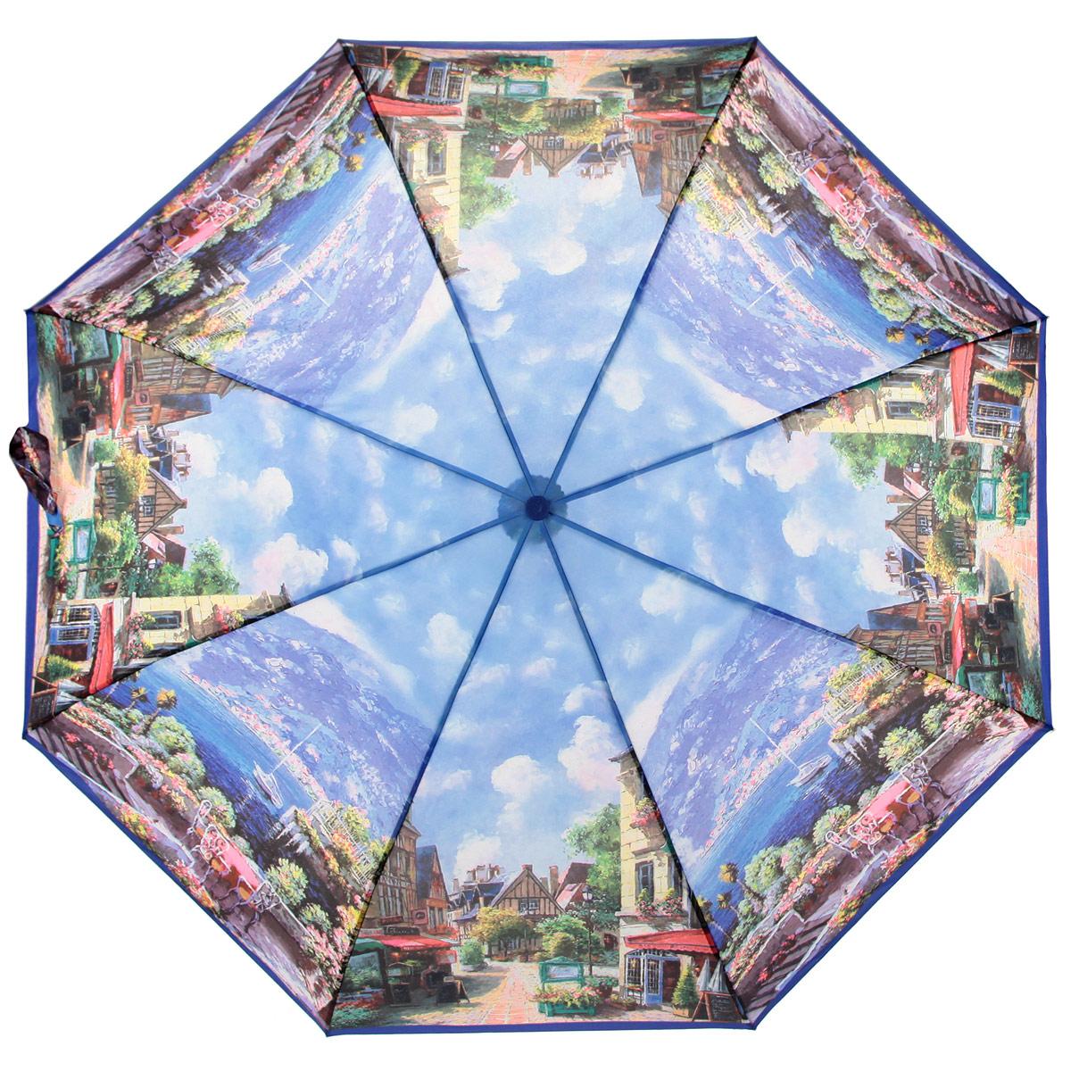 Зонт женский Zest, цвет: синий, мультицвет. 239555-03Серьги с подвескамиАвтоматический женский зонт Zest выполнен из прочной стали с антикоррозийным покрытием, содержит восемь спиц из фибергласса, устойчивых к выгибанию. Зонт оформлен сублимационной печатью, с высоким качеством изображения.Изделие оснащено полностью автоматическим механизмом. Предусмотрена комфортная прорезиненная ручка и чехол для хранения изделия.Стильный автоматический Zest даже в ненастную погоду позволит вам оставаться элегантной.