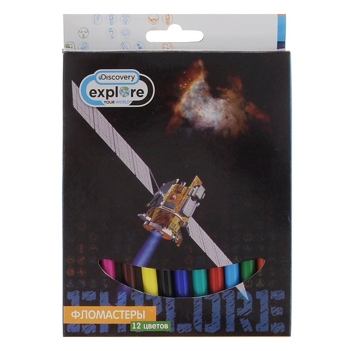 Фломастеры Action Discovery, 12 цветовFS-36052Фломастеры Discovery, предназначенные для рисования и раскрашивания, помогут вашему малышу создать неповторимые яркие картинки. Набор включает в себя 12 фломастеров ярких насыщенных цветов в разноцветных корпусах. Специальные чернила на водной основе легко смываются с кожи и отстирываются с большинства тканей. Корпус фломастеров изготовлен из полипропилена, а колпачок имеет специальные прорези, что обеспечивает вентилирование, еще больше увеличивает срок службы чернил и предотвращает их преждевременное высыхание. Не требуют особых условий хранения.Товар предназначен для детей старше трех лет.
