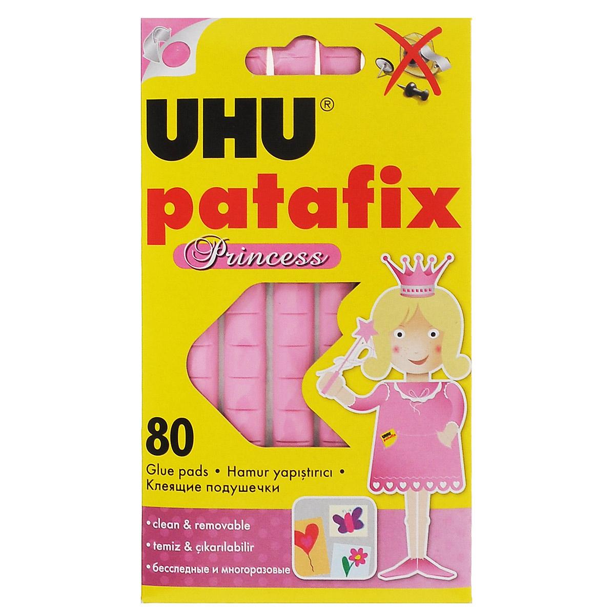 Специальные подушечки UHU Patafix. Princess предназначены для быстрой и чистой фиксации рисунков, фотографий, постеров и других лекгих вещей на различных поверхностях, таких как стены, двери, мебель. Не оставляют следов. Многоразовые. Могут использоваться в доме, детском саду или школе. Рекомендовано детям старше трех лет.