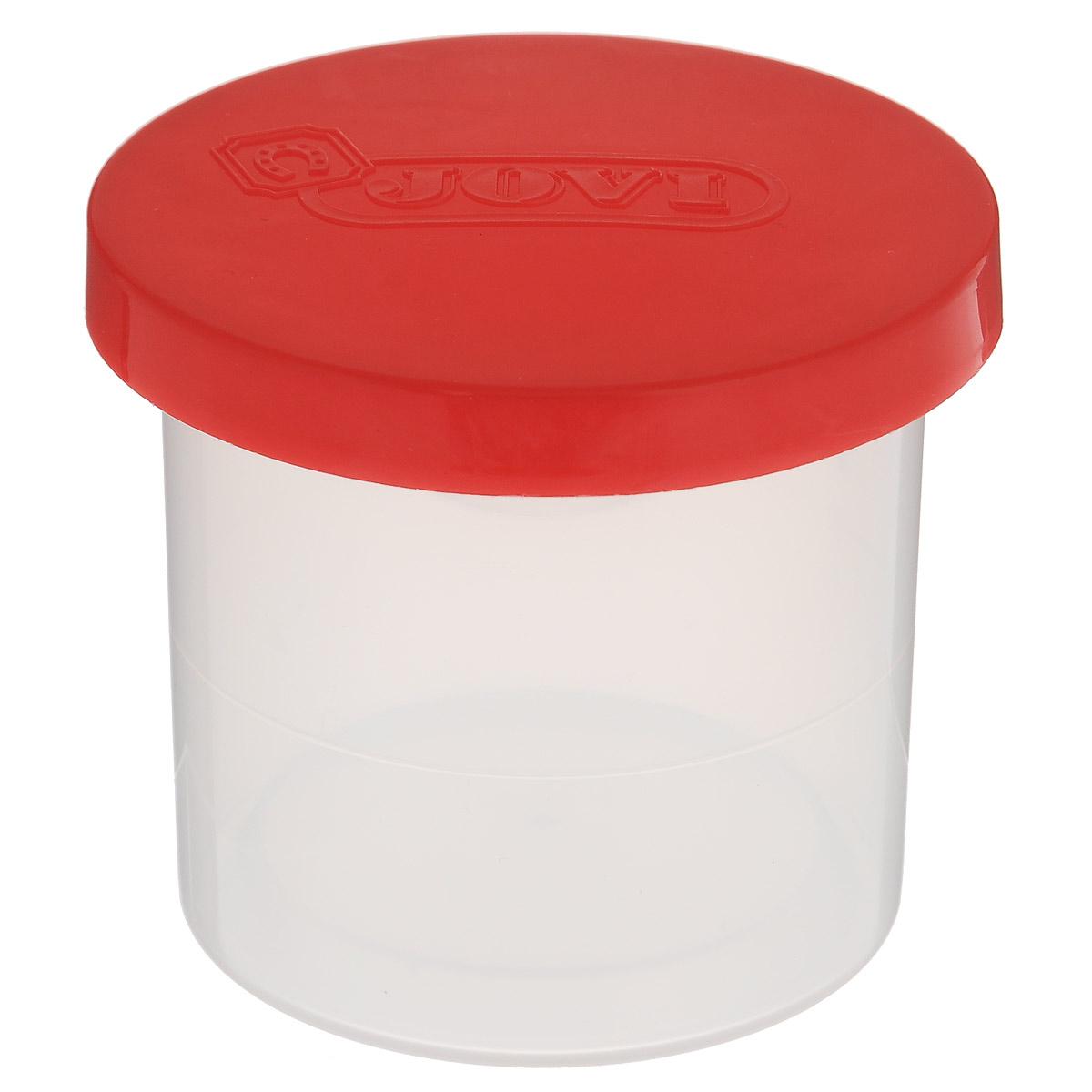 """Удобный стакан-непроливайка """"Jovi"""" станет незаменимым атрибутом в процессе рисования шедевра. Внутренняя крышка в виде воронки предохраняет от разливания краски или воды при опрокидывании. Рекомендовано детям старше трех лет."""