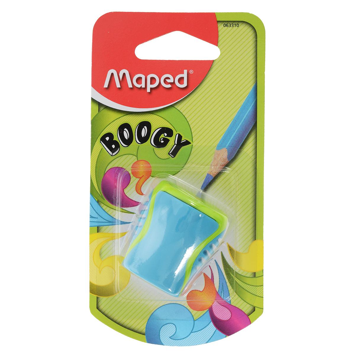Точилка Maped Boogy, с контейнером, цвет: голубой72523WDТочилка Maped Boogy с непрозрачным ударостойким контейнером на одно отверстие. Точилка представлена в яркой сочной цветовой гамме, с рифленой областью обхвата Точилка для карандашей имеет неотделимый контейнер, что исключает потерю стружки. Компактный размер точилки позволит легко хранить её в пенале.