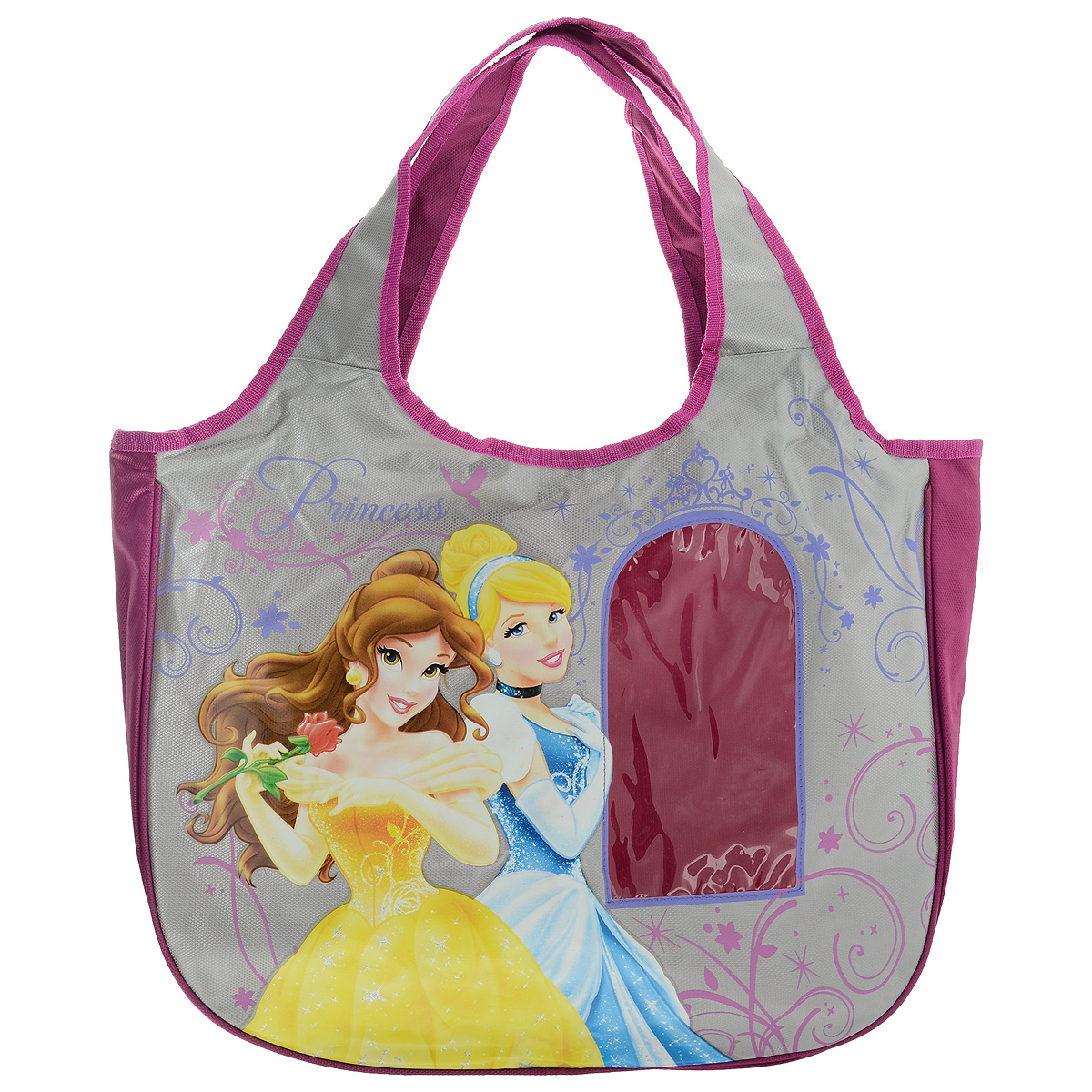 Сумка детская Disney Princess, цвет: розовый, серый. PRAS-UT-1445730396Сумка детская Disney Princess, выполненная из плотного, водоотталкивающего полиэстера, оформлена изображением прекрасных принцесс.Сумочка имеет одно большое вместительное отделение, закрывающееся на застежку-молнию, куда можно положить все необходимые принадлежности и аксессуары. На лицевой стороне сумки имеется небольшая прозрачная вставка в виде окна. Внутри отделения расположен карман-кошелек на молнии. Сумочка оснащена двумя ручками для переноски, которые выполнены цельными с основой.Сумка Disney Princess - идеальный вариант аксессуара на время прогулки или путешествия.