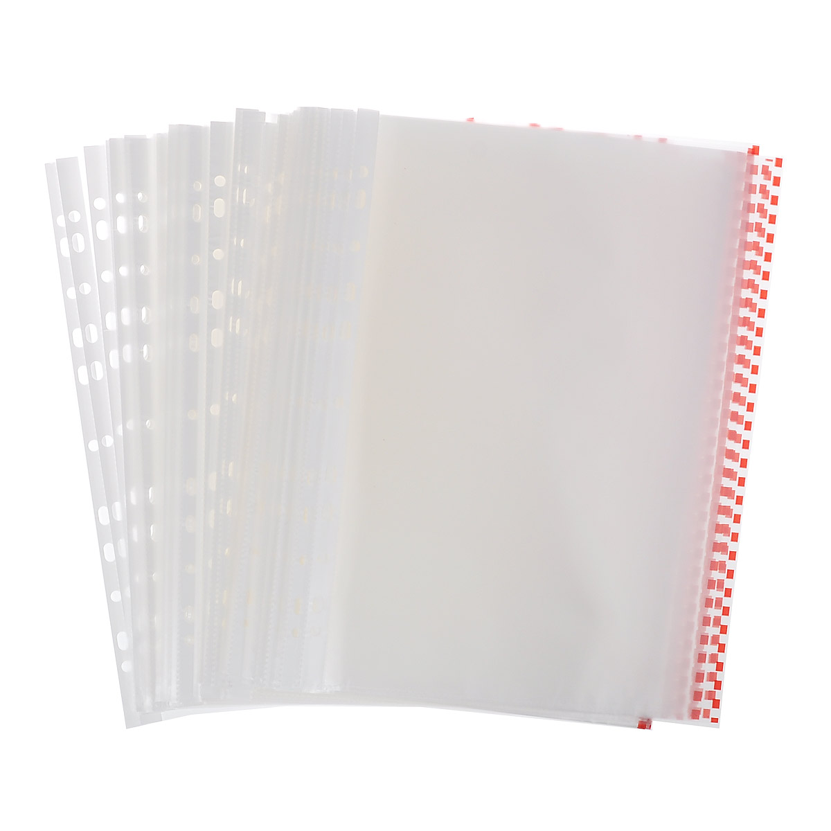Файл-вкладыш Erich Krause, с перфорацией, цвет: прозрачный, красный, формат А4, 100 шт80031Файл-вкладыш Erich Krause отлично подойдет для подшивки документов в архивные папки без перфорирования дыроколом. Боковая цветная полосапозволяет сортировать документы по темам. Стандартная перфорация совместима с любыми видами архивных папок.Комплект включает 100 перфофайлов с боковой полосой красного цвета.