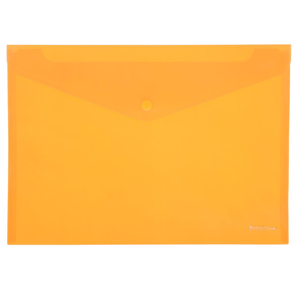 Erich Krause Папка-конверт Envelope Folder цвет оранжевый2010440Папка-конверт на кнопке Erich Krause - удобный и практичный офисный инструмент, предназначенный для хранения и транспортировки рабочих бумаг и документов формата А4.Папка изготовлена из полупрозрачного глянцевого пластика оранжевого цвета с диагональной текстурой, которая надолго сохраняет папку аккуратной и увеличивает срок ее службы. Практичная застежка-кнопка удобна для частого использования и обеспечивает быстрый доступ к документам. С такой папкой ваши документы всегда будут в полном порядке!