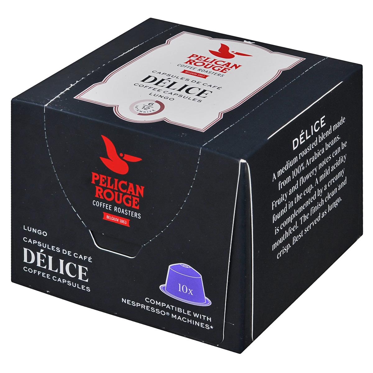 Pelican Rouge Delice кофе в капсулах, 10 шт0120710Кофе в капсулах Pelican Rouge Delice имеет утонченный вкус с оттенками карамели. Кофе средней обжарки характеризуется акцентом на фруктовый вкус с легкой кислинкой.