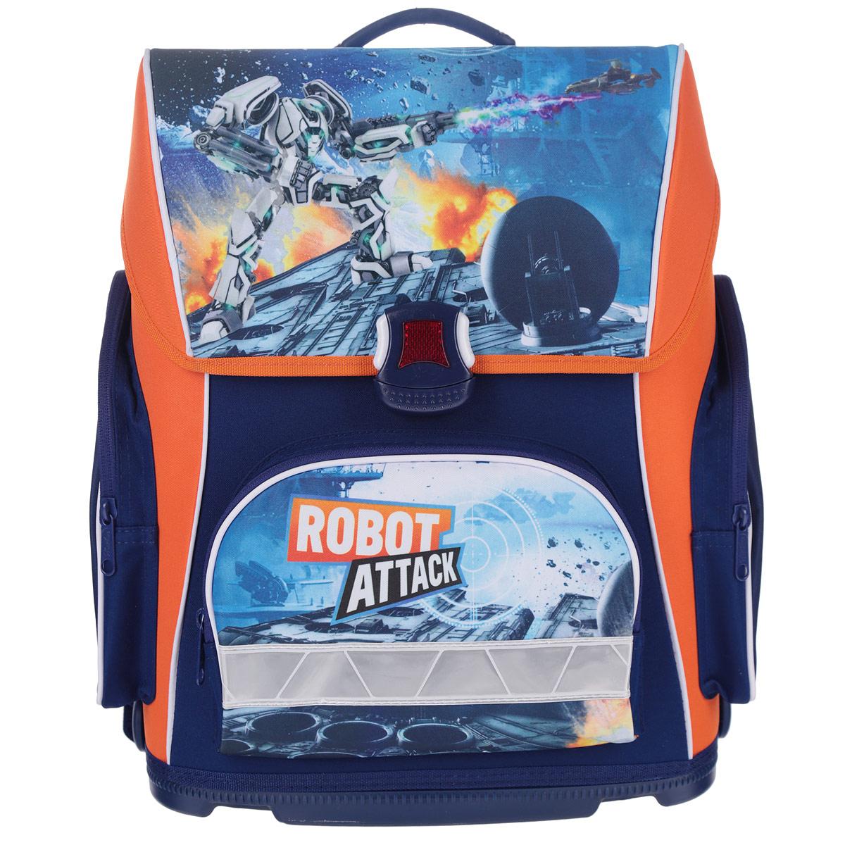 Ранец Hatber Robot Attack, модель Optimum, цвет: синий, оранжевый72523WDРанец Hatber Robot attack идеально подойдет для школьников!Ранец выполнен из водонепроницаемого, морозоустойчивого, устойчивого к солнечному излучению материала. Изделие оформлено изображением в виде робота.Содержит одно вместительное отделение, закрывающееся клапаном на замок-защелку. Внутри отделения имеется мягкая перегородка для тетрадей, учебников. Клапан полностью откидывается, что существенно облегчает пользование ранцем. На внутренней части клапана находится прозрачный пластиковый кармашек, в который можно поместить расписание занятий. Ранец имеет два боковых кармана, закрывающиеся на молнии. Лицевая сторона ранца оснащена накладным карманом на молнии.Жесткий анатомический каркас и форма спинки способствует равномерному распределению нагрузки и формированию правильной осанки. Конструкция спинки дополнена эргономичными подушечками, противоскользящей сеточкой и системой вентиляции для предотвращения запотевания спины ребенка. Широкие мягкие плечевые ремни оснащены удобными крючками для фиксации регулировочной ленты. S-образная форма лямок обеспечивает более плотную фиксацию ранца, предотвращая перенапряжение мышц спины. Ранец оснащен ручкой с резиновой насадкой для удобной переноски. Прочное пластиковое дно не деформируется и легко очищается от загрязнений. Светоотражающие элементы на лицевой стороне, боковых карманах и лямках рюкзака обеспечивают дополнительную безопасность в темное время суток.Многофункциональный школьный ранец станет незаменимым спутником вашего ребенка в походах за знаниями.