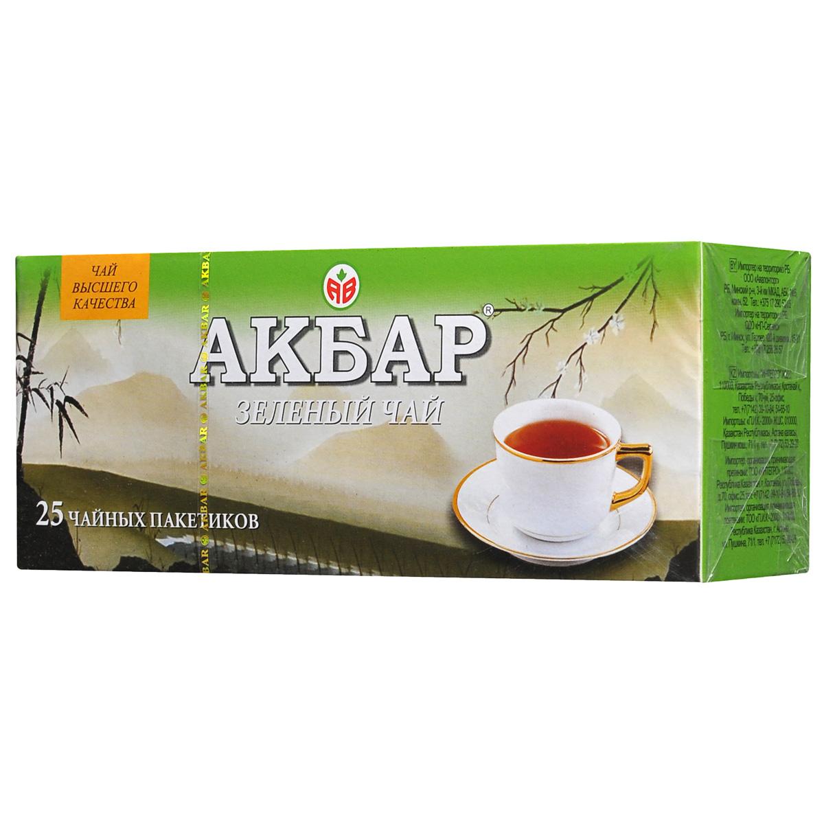 Akbar зеленый чай в пакетиках, 25 шт
