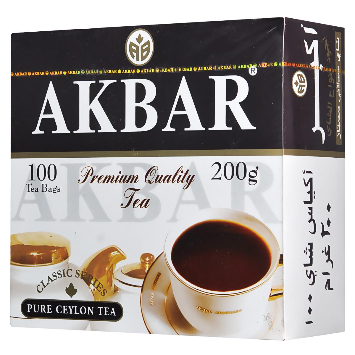 Akbar Классическая серия черный чай в пакетиках, 100 шт0120710Приверженность вековым традициям, неизменное постоянство вкуса и качества - вот секрет популярности чая Akbar Классическая серия у многих поколений любителей чая во всем мире. Выращенный исключительно на элитных плантациях Шри-Ланки, он объединяет в себе все лучшее, чем славится настоящий цейлонский чай: богатый аромат, тонизирующий вкус, неповторимая свежесть, насыщенный цвет настоя.