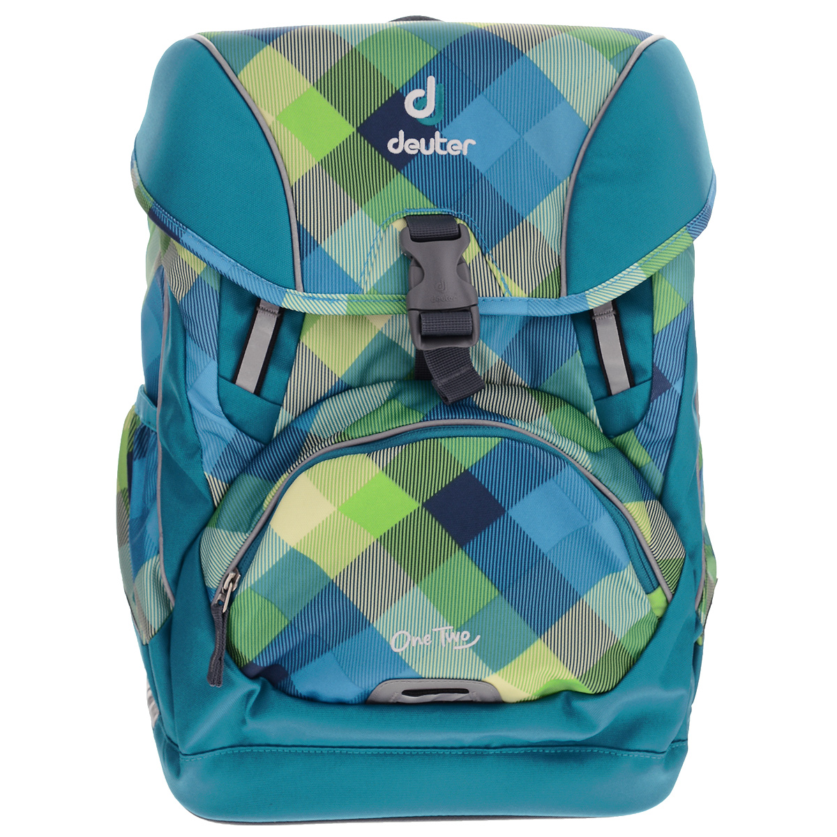 Рюкзак Deuter OneTwo, цвет: голубой, зеленый, желтый72523WDРюкзак Deuter OneTwo выполнен из полиэстера и предназначен для детей младшего школьного возраста. В рюкзаке Deuter OneTwo использована профессиональная конструкция спинки Active Comfort Fit специально для младших школьников. Она обеспечивает удобство носки благодаря мягким подушкам, плотно прилегающим к спине, и двум гибким профилям из пружинной стали. Они могут быть подогнаны под индивидуальные особенности спины ребенка. В тоже время они обеспечивают максимальную стабильность даже при большой загрузке рюкзака, равномерно распределяя его вес. Изделие оснащено гибкими эргономичными активными плечевыми лямками, разработанными в соответствие с детской анатомией. Повторяя каждое движение, они обеспечивают распределение нагрузки и устойчивость посадки рюкзака. Ширина, длина и S-образная форма плечевых лямок с мягкой подкладкой гарантируют не только идеальную подгонку, но и уникальный комфорт. Нагрудный ремешок и съемный набедренный пояс обеспечивают дополнительную фиксацию. Имеется ручка для удобной переноски в руках. Рюкзак имеет одно большое отделение, которое закрывается на защелку. Внутри большого отделения имеется карман с твердой перегородкой для тетрадей, альбома и дневника. Откидная крышка рюкзака оснащена прозрачным окошечком. Снаружи, на лицевой стороне, рюкзака размещен накладной карман на молнии. По бокам рюкзака расположены два внешних кармана, стянутых сверху резинками. Светоотражающие вставки не оставят вашего ребенка незамеченным в темное время суток. В комплект также входят сумка для сменной обуви, пенал для школьных принадлежностей и кошелек.