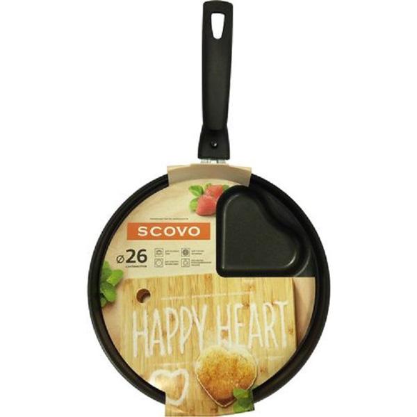 Сковорода Scovo Happy Heart, с антипригарным покрытием. Диаметр 26 см. RH-002391602Сковорода Scovo Happy Heart выполнена из алюминия с антипригарным покрытием. Такое покрытие исключает прилипание и пригорание пищи к поверхности посуды, обеспечивает легкость мытья посуды, исключает необходимость использования большого количества масла, что способствует приготовлению здоровой пищи с пониженной калорийностью.Изделие оснащено пластиковой ручкой.Сковорода подходит для газовых, электрических и стеклокерамических плит. Также ее можно мыть в посудомоечной машине. Диаметр сковороды (по верхнему краю): 26 см.