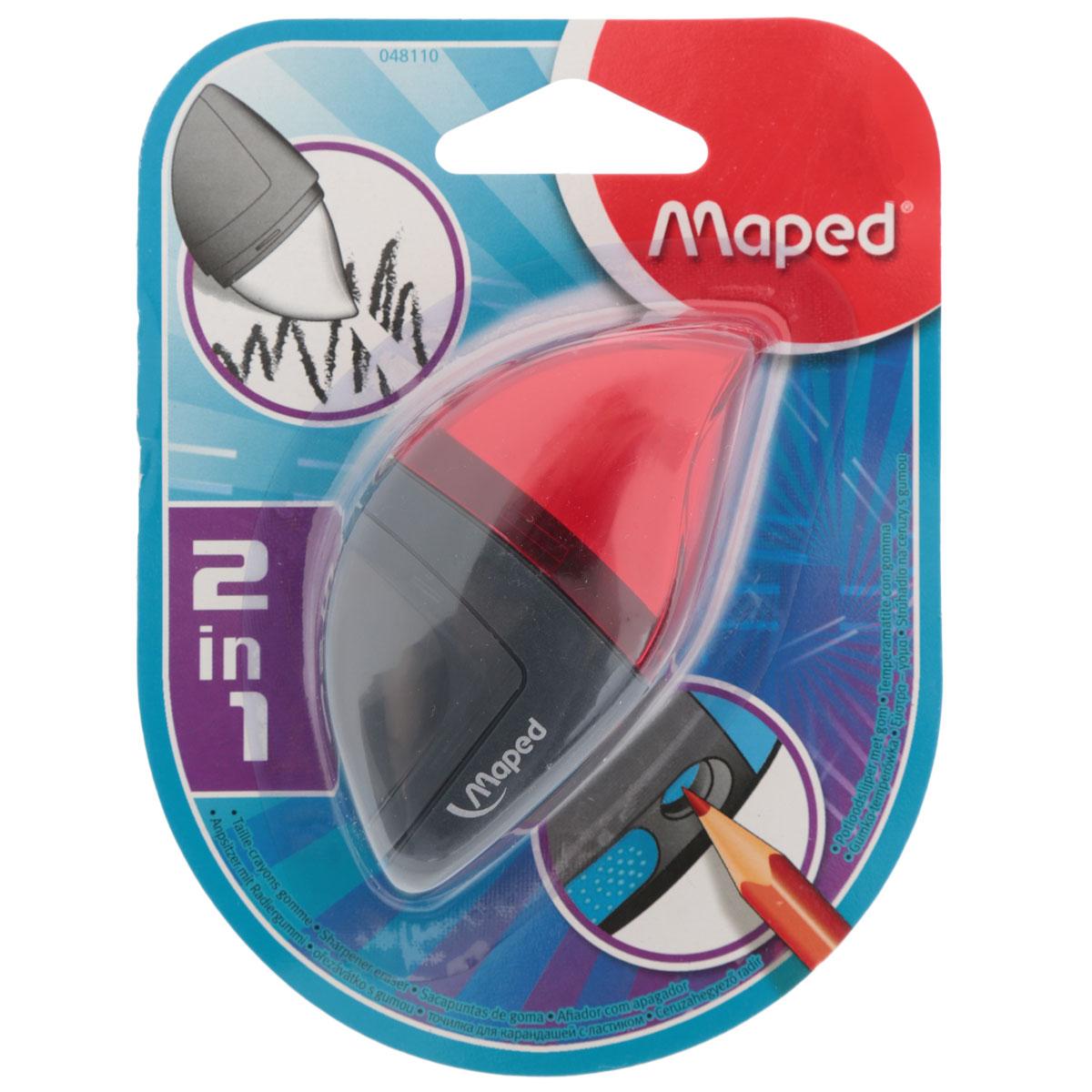 Точилка Maped Moondo, с ластиком, цвет: красный72523WDУдобная точилка в оригинальном пластиковом корпусе с крышкой Maped предназначена для затачивания карандашей. Острое стальное лезвие обеспечивает высококачественную и точную заточку. Карандаш затачивается легко и аккуратно, а опилки после заточки остаются в специальном контейнере.Точилка снабжена ластиком, закрывающимся колпачком.