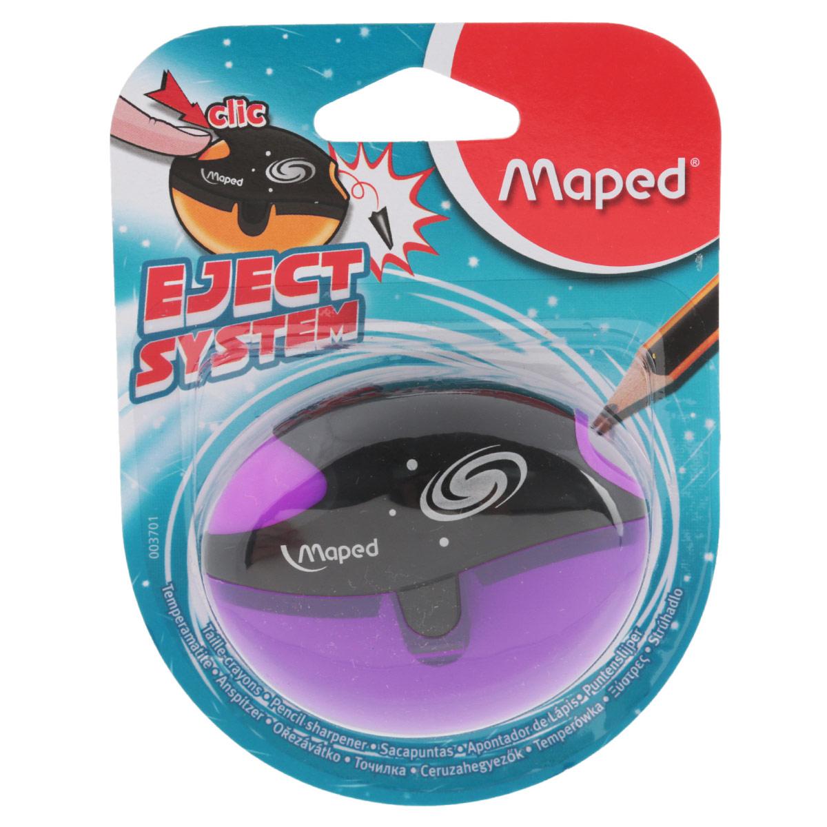 Точилка Maped Galactic, цвет: фиолетовый72523WDТочилка пластиковая Maped Galactic - это точилка изготовленная из пластика, с одним отверстием, контейнером и специальной защитой от сломанного грифеля. Полупрозрачный контейнер для сбора стружки повышенной вместимости позволяет визуально контролировать уровень заполнения и вовремя производить очистку. Это точилка, в которой не застревает грифель. Одно нажатие на кнопку освобождает точилку от сломанного грифеля. Предназначена для использования как в школе, так и в офисе.Рекомендовано детям старше трех лет.
