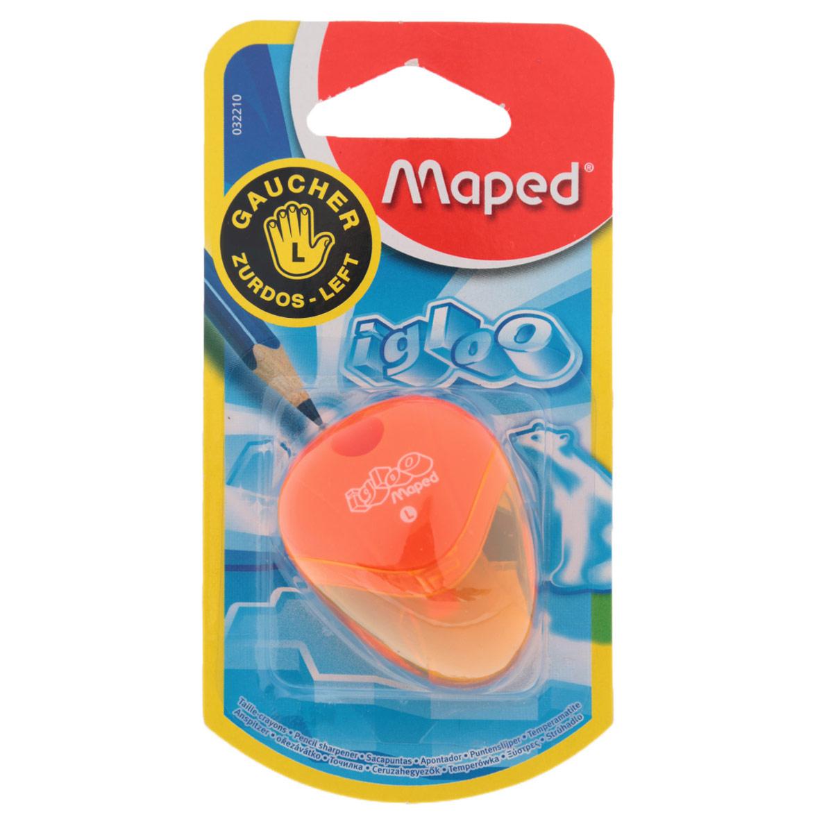 Точилка Maped Igloo, для левшей, цвет: оранжевый72523WDТочилка Igloo для левшей с одним отверстием выполнена из ударопрочного пластика. Полупрозрачный контейнер для сбора стружки позволяет визуально контролировать уровень заполнения и вовремя производить очистку. Подходит как для школы, так и для офиса.Рекомендовано детям старше трех лет.