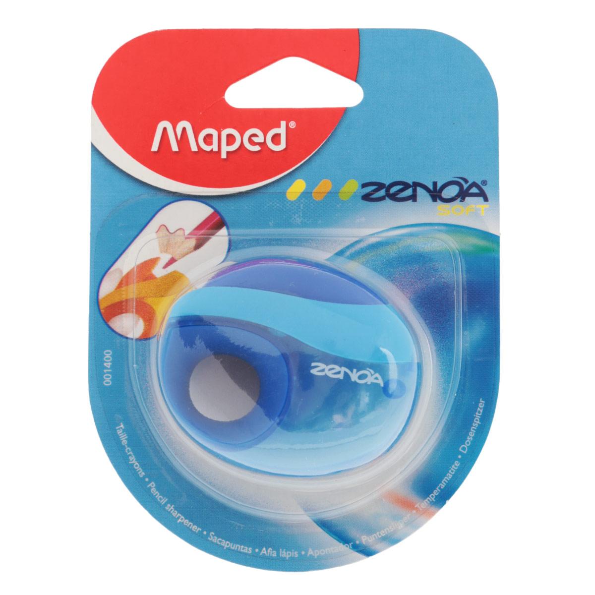 Точилка Maped Zenoa, с контейнером, цвет: синийCS-WP2501-1X30Точилка Zenoa выполнена из ударопрочного пластика. Имеется мягкий держатель для пальцев. Закрывается автоматически после использования, чтобы избежать попадания крошек графита в пенал. Полупрозрачный контейнер для сбора стружки позволяет визуально контролировать уровень заполнения и вовремя производить очистку.