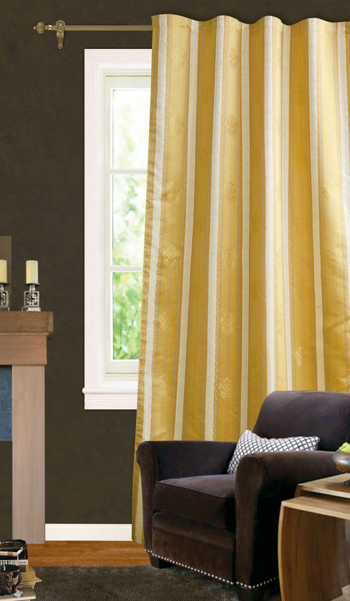 Штора готовая для гостиной Garden, на ленте, цвет: бежевый, золотистый, размер 140*270 см. С 535590 V2212180/250 оранжевыйЭлегантная портьерная штора Garden выполнена из жаккарда (100% полиэстера). Плотная ткань и приятная цветовая гамма привлекут к себе внимание и органично впишутся в интерьер помещения.Эта штора будет долгое время радовать вас и вашу семью!Штора крепится на карниз при помощи ленты, которая поможет красиво и равномерно задрапировать верх.