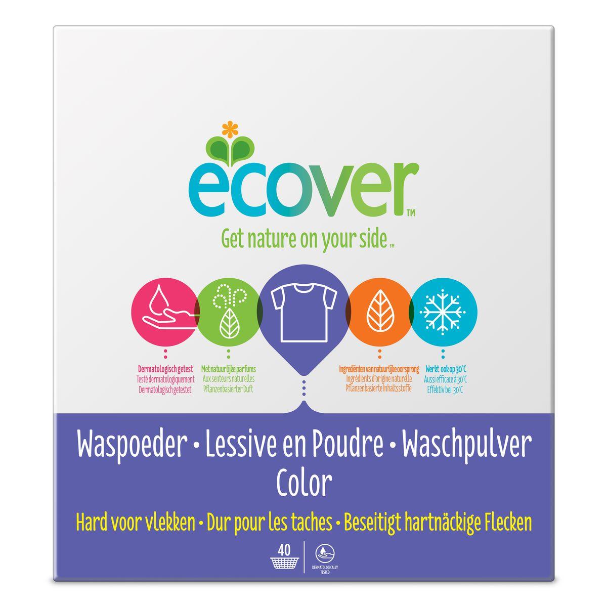 Экологический стиральный порошок Ecover, концентрат, для цветного белья, 3 кг144050161Очень эффективный стиральный порошок-концентрат Ecover предназначен для стирки цветного белья. Подходит к использованию для детей от 2-х лет и взрослых. Порошок создан на основе растительных ПАВ. Улучшенная формула содержит небольшое количество бережного кислородного отбеливателя для удаления таких загрязнений как пятна от вина, фруктов, травы и т.д. Прекрасно выполаскивается. Новая формула средства позволяет использовать меньше порошка и обеспечивает на 25% больше стирок! При машинной стирке не требуется добавление средств для смягчения воды и предотвращения образования накипи (типа Calgon). Обладает легким натуральным ароматом. Не содержит фосфатов и синтетических ароматизаторов. Содержит энзимы (не ГМО) и натуральный кислородный отбеливатель.Подходит для использования в домах с автономной канализацией. Не наносит вреда любым видам септиков! Характеристики:Состав: 15-30% анионные био-ПАВ цеолиты, 5-15% неионные ПАВ, силикат натрия, карбонат натрия, бикарбонат натрия, полипептидное мыло, карбоксиметил целлюлозы, отдушка, сульфат натрия, цитрат натрия, энзимы, этилендиамин диссуцинат. Объем: 3 кг. Товар сертифицирован.