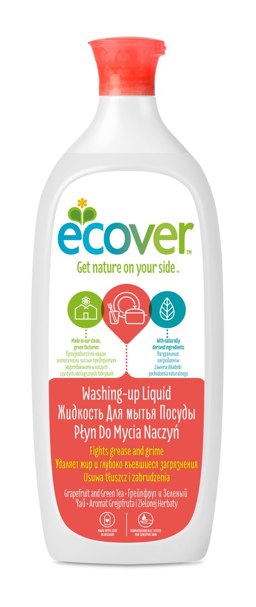 Экологическая жидкость для мытья посуды Ecover, с грейпфрутом и зеленым чаем, 1 л790009Эффективное моющее средство Ecover со свежим ароматом грейпфрута и зеленого чая, созданное на основе экологически чистых ПАВ из соломы и пшеничных отрубей. Прекрасно очищает и удаляет жиры, не оставляет химикатов на посуде. Великолепно смывается водой. Не вызывает раздражений и аллергических реакций на коже, дополнительно содержит экстракты бархатцев и алое вера для защиты рук, что позволяет мыть посуду без перчаток. Не содержит синтетических ароматизаторов и нефтепродуктов. Уровень pH: 4.5. Подходит для использования в домах с автономной канализацией. Не наносит вреда любым видам септиков! Характеристики:Состав: >30% вода; 5-15% анионные ПАВ;Объем: 1 л. Товар сертифицирован.