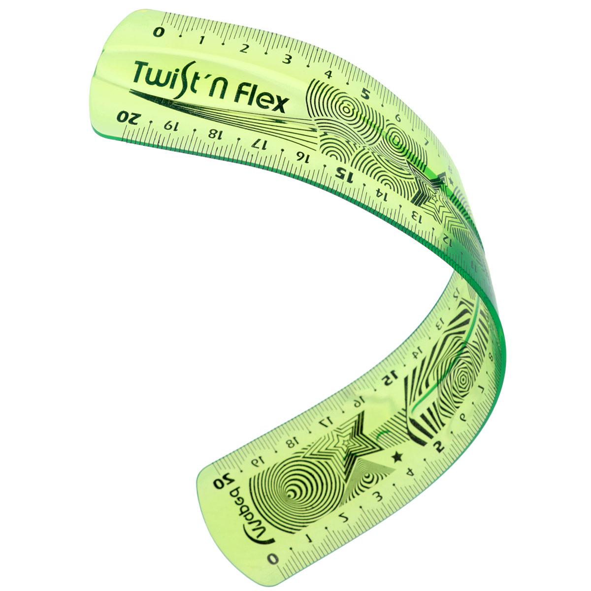 Линейка Maped Twistnflex, гибкая, цвет: зеленый, 20 см2010440Линейка Maped Twistnflex - это неломающаяся линейка, которую можно сгибать и скручивать неограниченное количество раз. После непродолжительного времени принимает первоначальную форму и не деформируется. Можно использовать как антистресс.