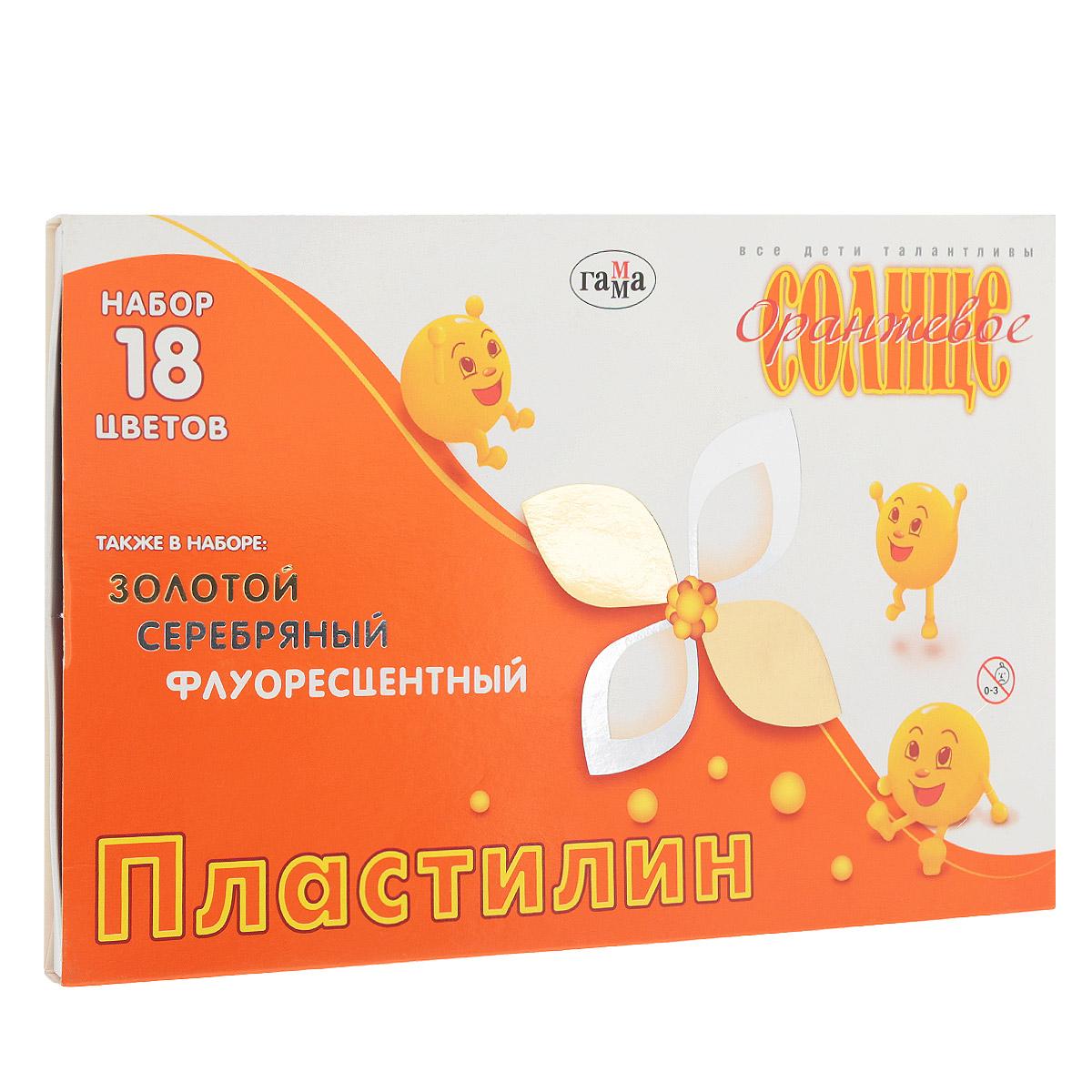 Пластилин Гамма Оранжевое солнце, 18 цветов72523WDПластилин Гамма Оранжевое солнце предназначен для лепки и моделирования. Лепка из пластилина способствует развитию мелкой моторики рук и пространственного мышления, кроме того, это увлекательный досуг. Пластилин изготовлен из высококачественных компонентов, благодаря которым он не окрашивает руки, не прилипает к пальцам, хорошо держит форму, легко смешивается, не рвется, в процессе согревания мягко растягивается. С помощью стека, вложенного в коробку, ребенок может наносить орнамент на свои изделия, что позитивно влияет на творческое мышление. Длина стека 13 см. В набор входят: 6 брусочков цветного пластилина (белый, желтый, красный, зеленый, красно-коричневый, черный), 6 брусочков перламутрового (серебряный, золотой, коралловый, салатовый, голубой, сиреневый) и 6 брусочков флуоресцентного воскового пластилина (лимонный, оранжевый, красный, светло-зеленый, синий, темно-синий). Общая масса пластилина: 220 г.