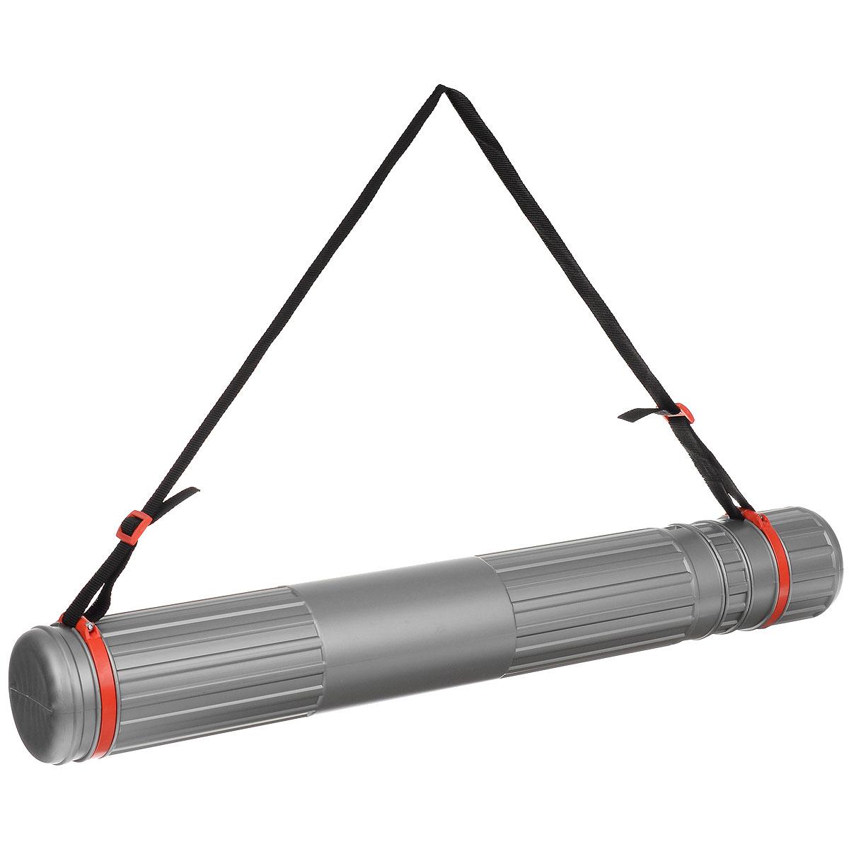 """Тубус телескопический """"Стамм"""", на ремне, цвет: серый, красный, 9 cм"""
