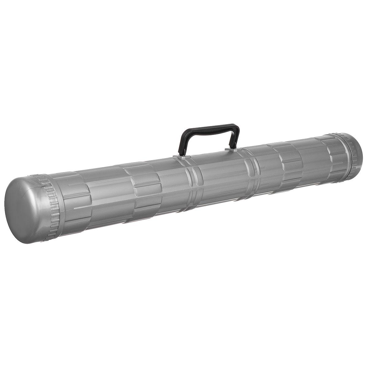 """Стильный тубус """"Стамм"""", выполненный в современном эргономичном дизайне, идеально подойдет для хранения и транспортировки чертежей и листов формата А4-А1 (12 листов). Тубус оснащен удобной пластиковой ручкой для переноски и надежными закручивающими боковыми крышечками, обеспечивающими быстрый доступ к чертежам и рисункам. Современный тубус будет незаменим для студентов и офисных работников. Диаметр тубуса: 9 см. Длина тубуса: 68 см."""