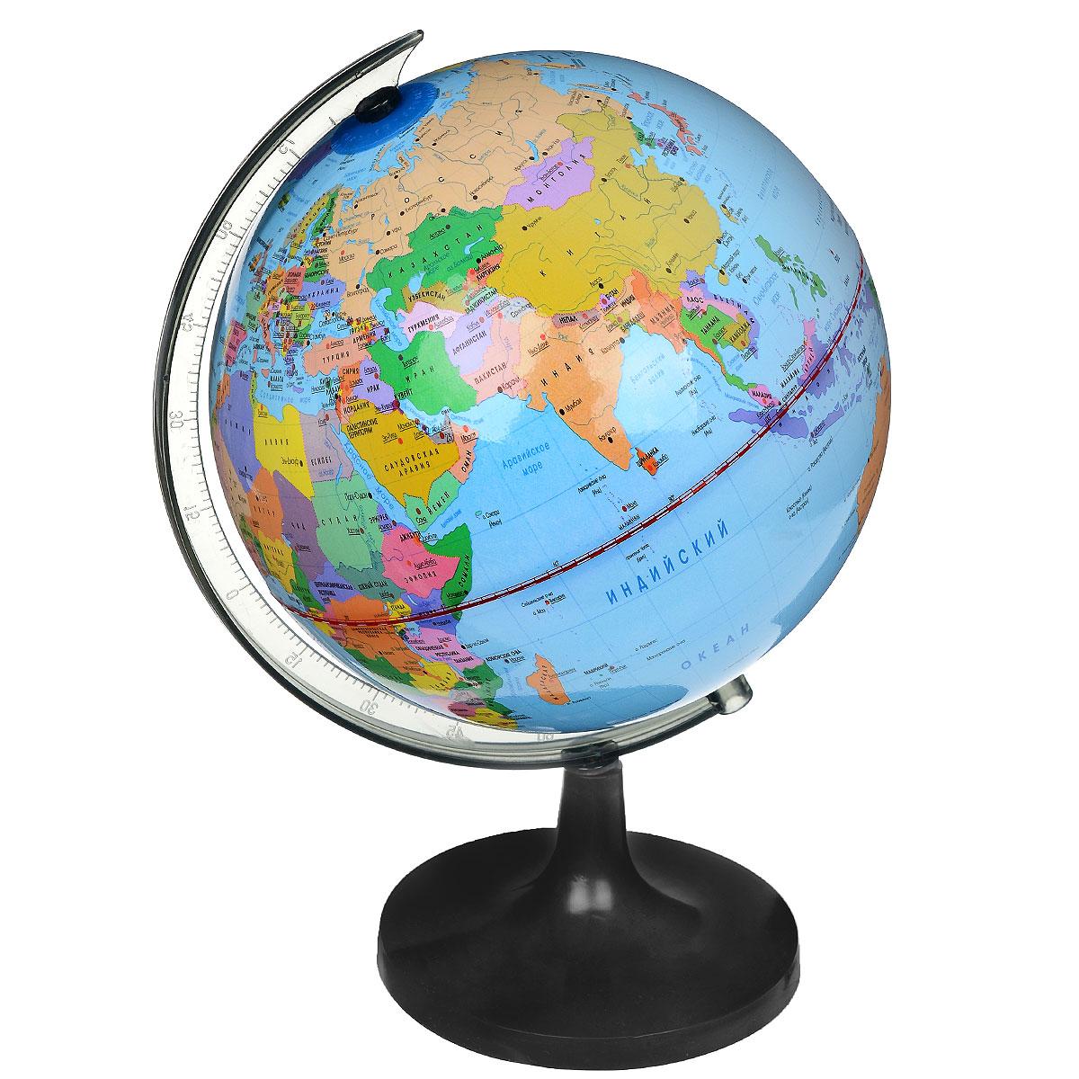 """Политический глобус """"Rotondo"""", изготовленный из высококачественного прочного пластика, показывает страны мира, сухопутные и морские границы того или иного государства, расположение городов и населенных пунктов. Изделие расположено на подставке. На нем отображены картографические линии: параллели и меридианы, а также градусы и условные обозначения. Глобус с политической картой мира станет незаменимым атрибутом обучения не только школьника, но и студента. Названия стран на глобусе приведены на русской язык. Настольный глобус """"Rotondo"""" станет оригинальным украшением рабочего стола или вашего кабинета. Это изысканная вещь для стильного интерьера, которая станет прекрасным подарком для современного преуспевающего человека, следующего последним тенденциям моды и стремящегося к элегантности и комфорту в каждой детали. Высота глобуса с подставкой: 31 см. Диаметр глобуса: 20 см. Масштаб: 1:63 000 000."""