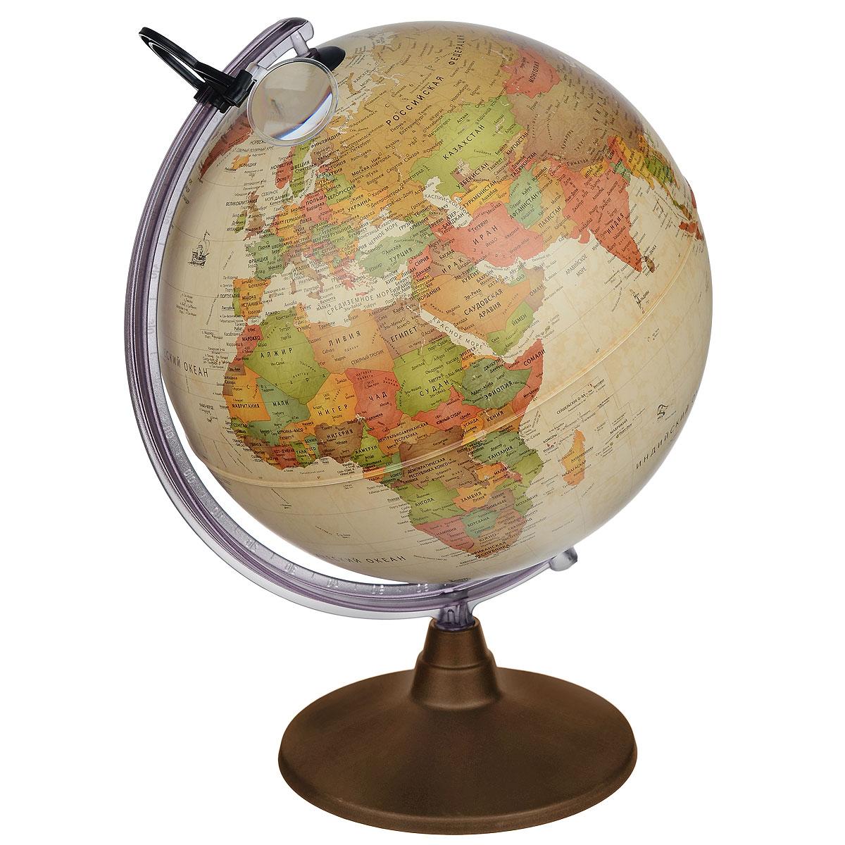 """Глобус """"Nova Rico """"Marco Polo"""" в античном стиле с политической картой мира выполнен в высоком качестве, с четким и ярким изображением. Он даст представление о политическом устройстве мира. На нем отображены линии картографической сетки, показаны границы государств и демаркационные линии, столицы и крупные населенные пункты, линия перемены дат. Легко вращается вокруг своей оси, снабжен прозрачным меридианом с лупой. Подставка изготовлена из пластика темно-коричневого цвета. Глобус имеет функцию подсветки от электрической сети, при включении которой становятся видны маршруты путешествий Магеллана, Кука, Васко де Гаммы и др. Надписи на глобусе сделаны на русском языке. Настольный глобус Nova Rico """"Marco Polo"""" станет оригинальным украшением рабочего стола или вашего кабинета. Это изысканная вещь для стильного интерьера, которая станет прекрасным подарком для современного преуспевающего человека, следующего последним тенденциям моды и стремящегося к..."""