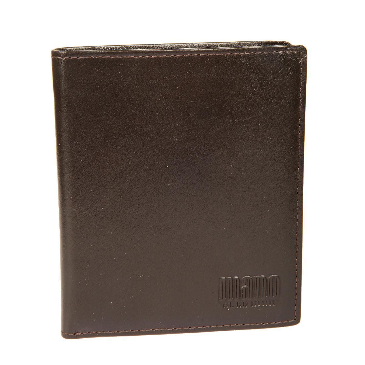 Портмоне мужское Mano, цвет: коричневый. 14660/5INT-06501Стильное мужское портмоне Mano выполнено из натуральной кожи. Изделие оформлено тиснением с названием производителя.Изделие раскладывается пополам. Портмоне содержит два отделения для купюр, девять кармашков для визиток и пластиковых карт (один из них сетчатый карман - окошечко), карман для мелочи на кнопке, сетчатый карман, два боковых кармана и один вертикальный карман для документов. Портмоне упаковано в фирменную картонную коробку. Такое портмоне станет отличным подарком для человека, ценящего качественные и стильные вещи.