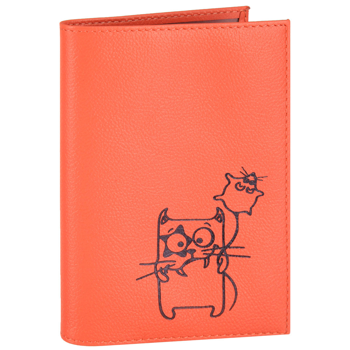 Обложка для паспорта Fabula Friends цвет: грейпфрут. O.30.CH2464 westСтильная обложка для паспорта Fabula Friends выполнена из натуральной кожи с зернистой текстурой, оформлена художественной печатью с изображением забавного котика. Обложка для паспорта раскладывается пополам, внутри расположены два пластиковых кармашка.Такая обложка для паспорта станет прекрасным и стильным подарком человеку, любящему оригинальные и практичные вещи.