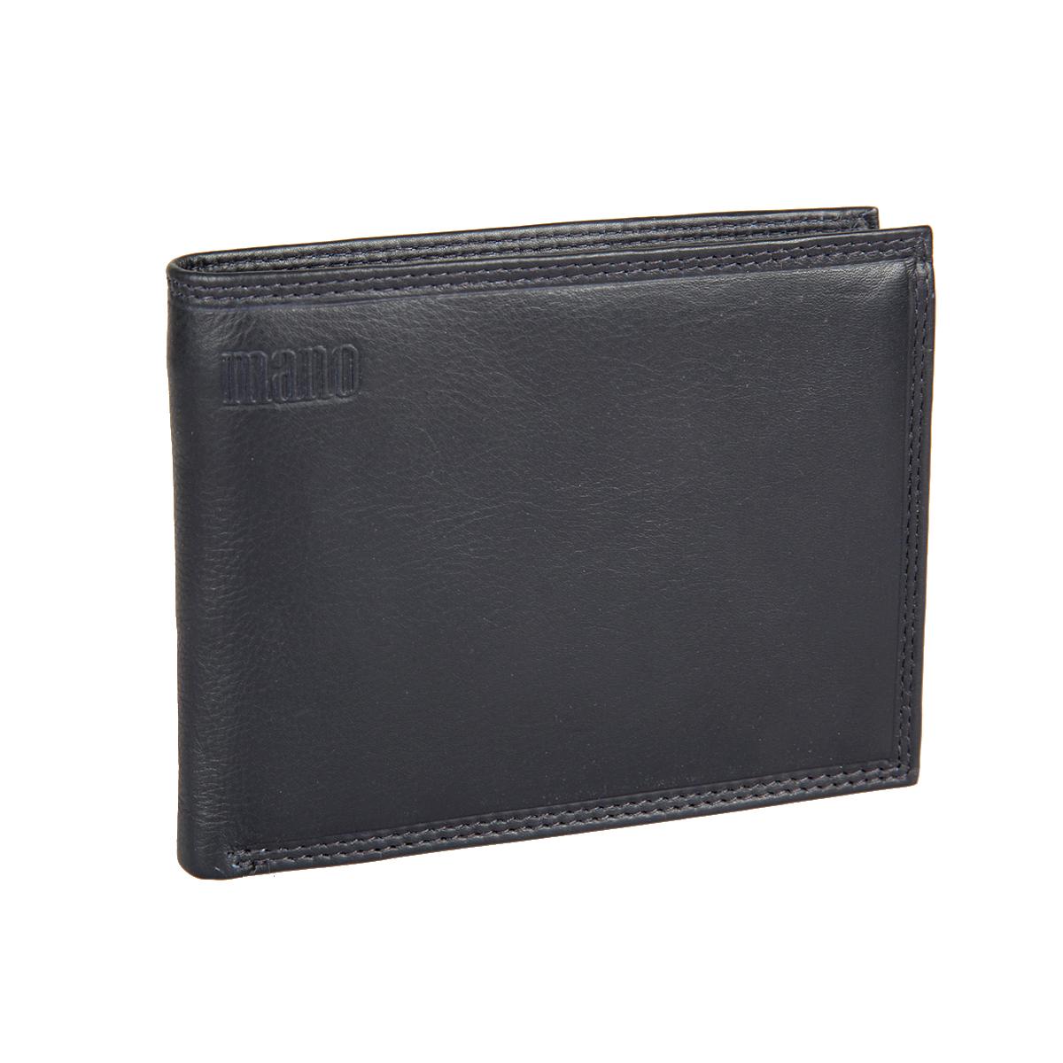 Портмоне мужское Mano, цвет: синий. 19851W16-11128_323Стильное мужское портмоне Mano выполнено из натуральной кожи и дополнено тиснением с названием производителя.Изделие раскладывается пополам. Портмоне содержит два отделения для купюр, восемь кармашков для визиток и пластиковых карт, карман для мелочи на кнопке, сетчатый карман, два боковых кармана для документов и два потайных кармана. Портмоне упаковано в фирменную картонную коробку. Такое портмоне станет отличным подарком для человека, ценящего качественные и стильные вещи.