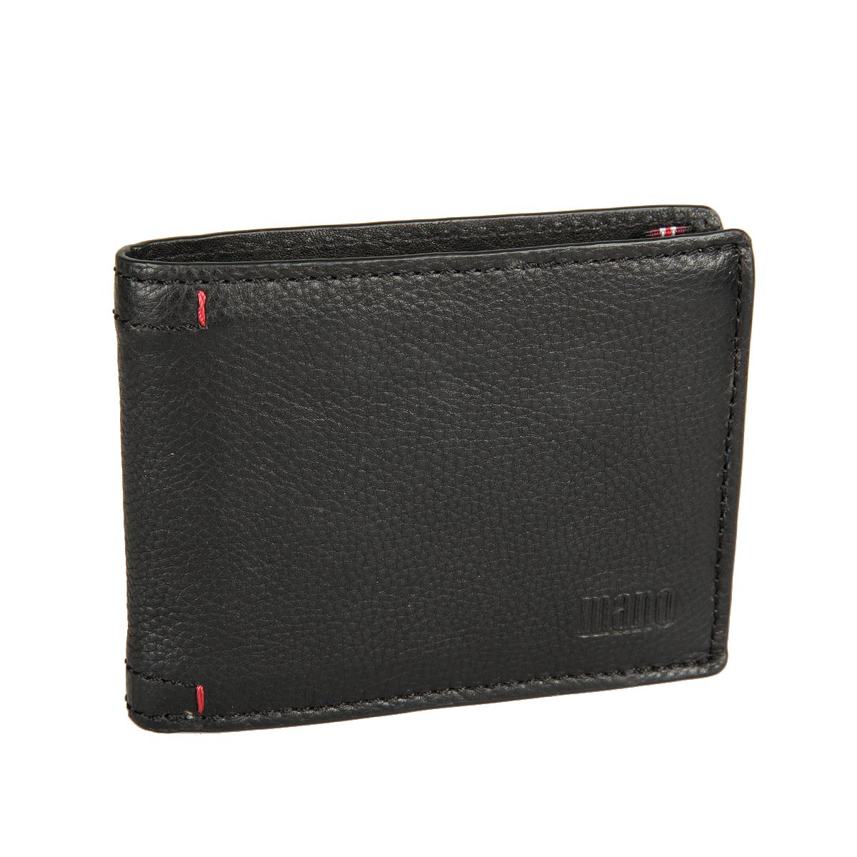 Портмоне мужское Mano, цвет: черный. 199517301PI-53Стильное мужское портмоне Mano выполнено из натуральной кожи с фактурным тиснением и дополнено тиснением с названием производителя.Изделие раскладывается пополам. Портмоне содержит два отделения для купюр, восемь кармашков для визиток и пластиковых карт, карман для мелочи на кнопке, сетчатый карман, три кармана для документов и два потайных кармана, один из которых на застежке-молнии. Портмоне упаковано в фирменную картонную коробку. Такое портмоне станет отличным подарком для человека, ценящего качественные и стильные вещи.