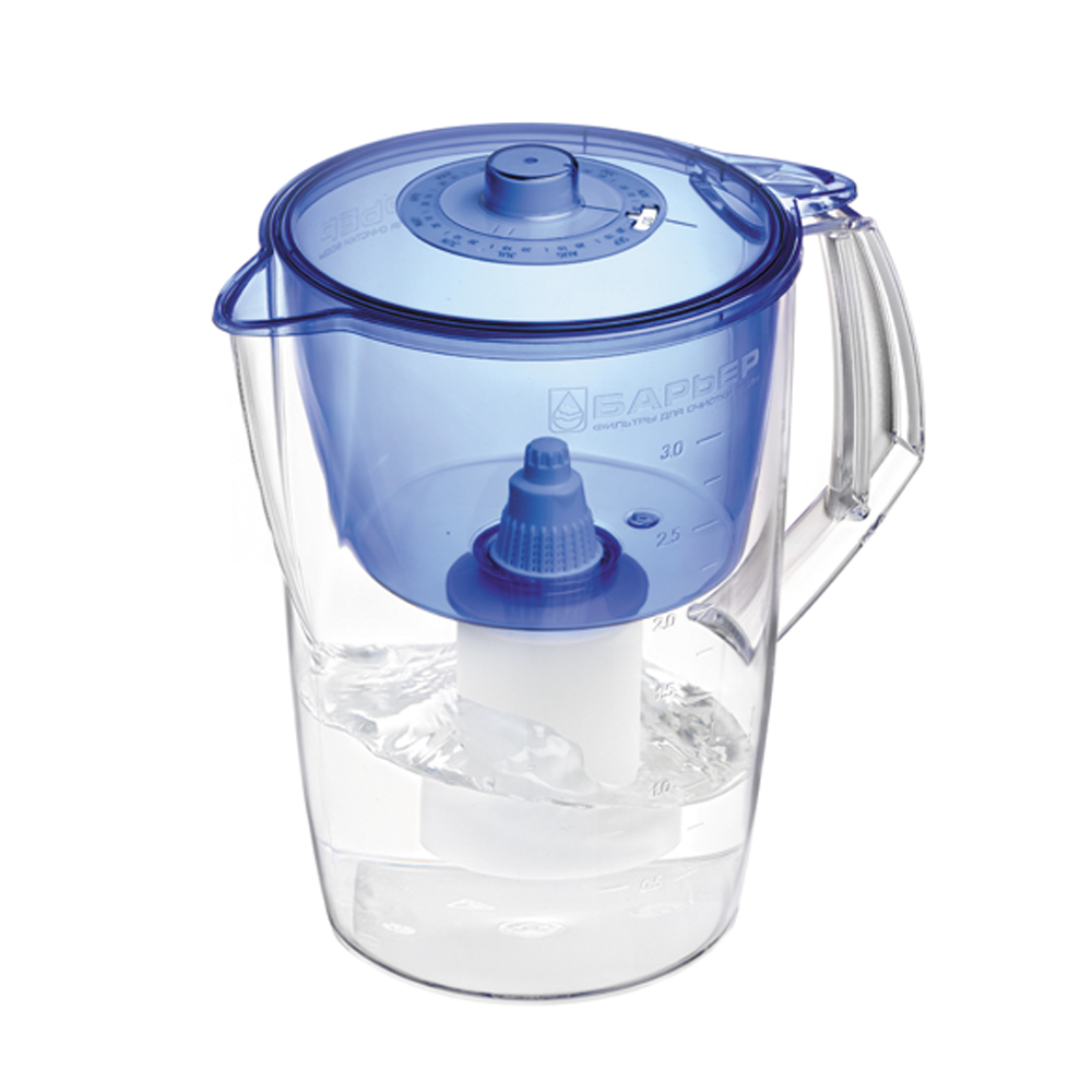 Фильтр-кувшин для воды Барьер Норма, цвет: индиго4630003364517Фильтр Norma - одна из самых популярных моделей фильтров-кувшинов. Кувшин обеспечит Вам нужное количествочистой воды за раз и при этом не будет занимать много места на кухне. Фильтр Norma - это признанное российскими потребителями сочетание доступности с большим количеством отфильтрованной воды. Фильтр-кувшин предназначен для доочистки питьевой водопроводной воды. Эффективно очищает воду от активного хлора, органических и хлороорганических соединений, токсичных металлов и других вредных веществ. Устраняет неприятные запахи и привкусы. Фильтр укомплектован сменной фильтрующей кассетой БАРЬЕР-4. В состав кассеты входят особая комбинация высококачественных активированных углей для сорбции вредных примесей и специальные ионообменные материалы для удаления из воды ионов токсичных металлов. Особенности данного фильтра:высококачественный пластик, допущенный для контакта с питьевой водой;возможность мыть в посудомоечной машине;уникальная конструкция воронки для защиты от попадания неочищенной воды и пыли;уникальная технология NanoPlus®. Барьер - это высококачественные материалы и жесточайший контроль на каждой стадии производства. На сегодняшний день компания Барьер располагает производством полного цикла и собственной научно-исследовательской лабораторией. Конструкторский отдел компании сотрудничает с ведущими дизайн-бюро Европы, что позволяет обновлять модельный ряд фильтров-кувшинов раз в 2-3 года.Материал: пластик. Объем кувшина: 3,6 л.Объем воронки: 1,5 л.Объем очищенной воды: 1,6 л.Примерный ресурс сменной кассеты (в зависимости от качества исходной воды): 350 л.Размер кувшина (с учетом ручки): 24 см х 17 см. Высота кувшина: 25 см. Размер упаковки: 22,8 см х 16,8 см х 26,8 см. Входит инструкция по эксплуатации на русском языке.