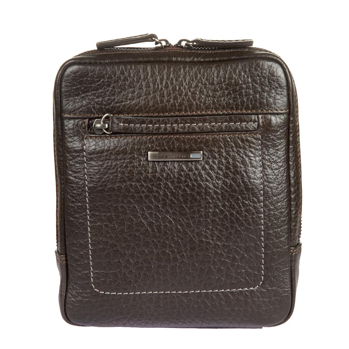 Сумка-планшет мужская Gianni Conti, цвет: темно-коричневый. 15423858-2Стильная сумка-планшет Gianni Conti выполнена из высококачественной натуральной кожи с фактурным тиснением. Лицевая сторона украшена металлической пластиной с гравировкой бренда производителя. Планшет имеет одно основное отделение, которое закрывается на застежку-молнию. Внутри имеется накладной карман и прорезной карман на застежке-молнии. На внешней стороне - плоской карман и карман на застежке-молнии. Сумка оснащена регулируемым плечевым ремнем. К планшету прилагается чехол для хранения.Функциональность, вместительность, качество исполнения и непревзойденный стиль сумки-планшета Gianni Conti, несомненно, понравится любому мужчине.